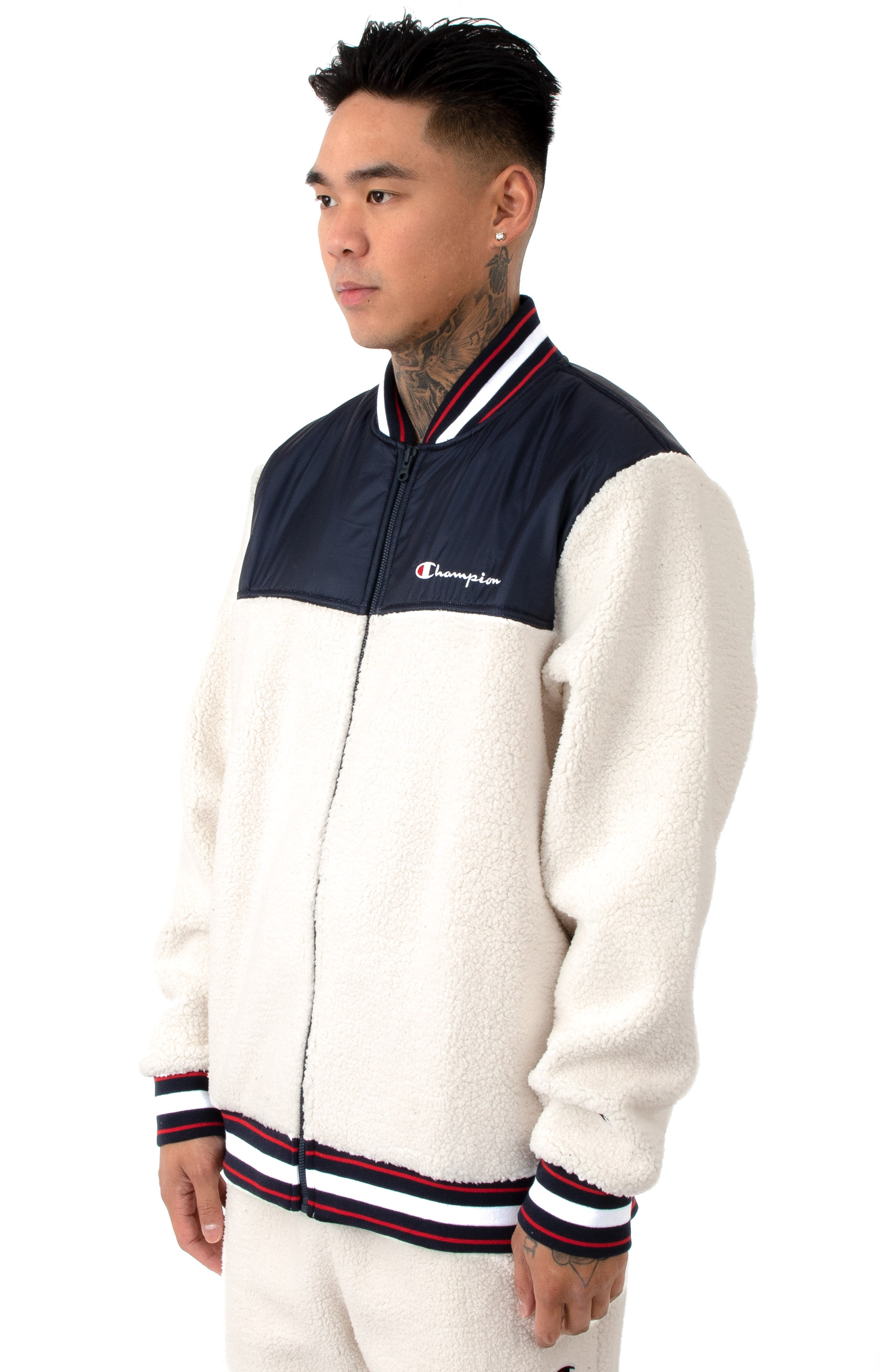 Champion LIFE, Sherpa Baseball Jacket - Quartz Cream/Navy ...