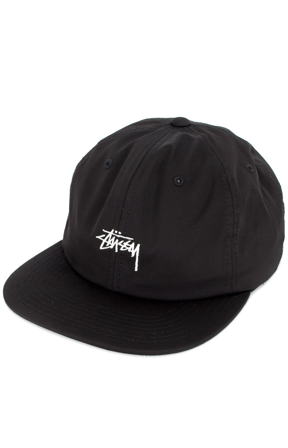 Stock Poly Cotton Snap-Back Hat - Black