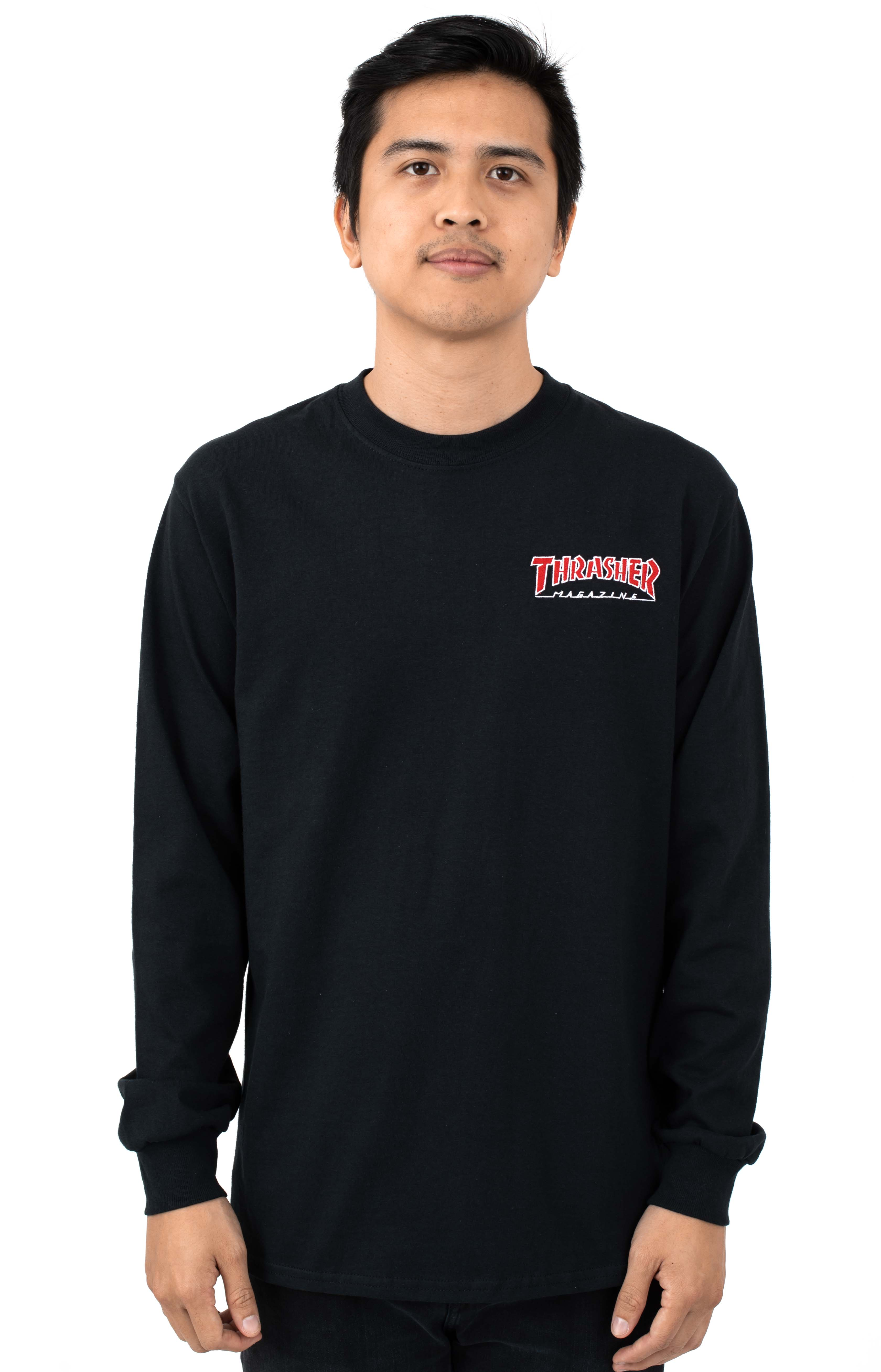 Embroidered Outlined L/S Shirt - Black