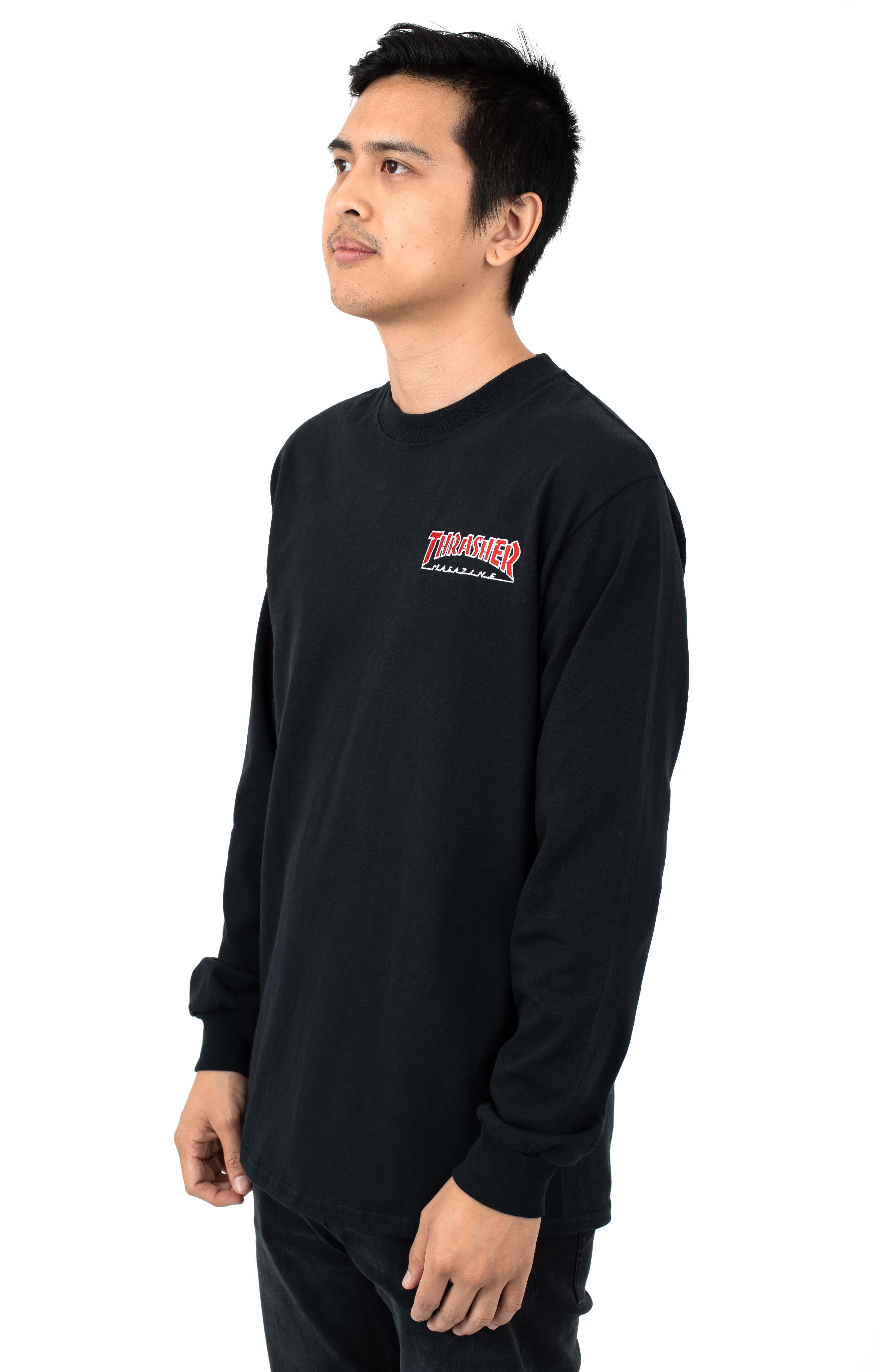 Embroidered Outlined L/S Shirt - Black 2