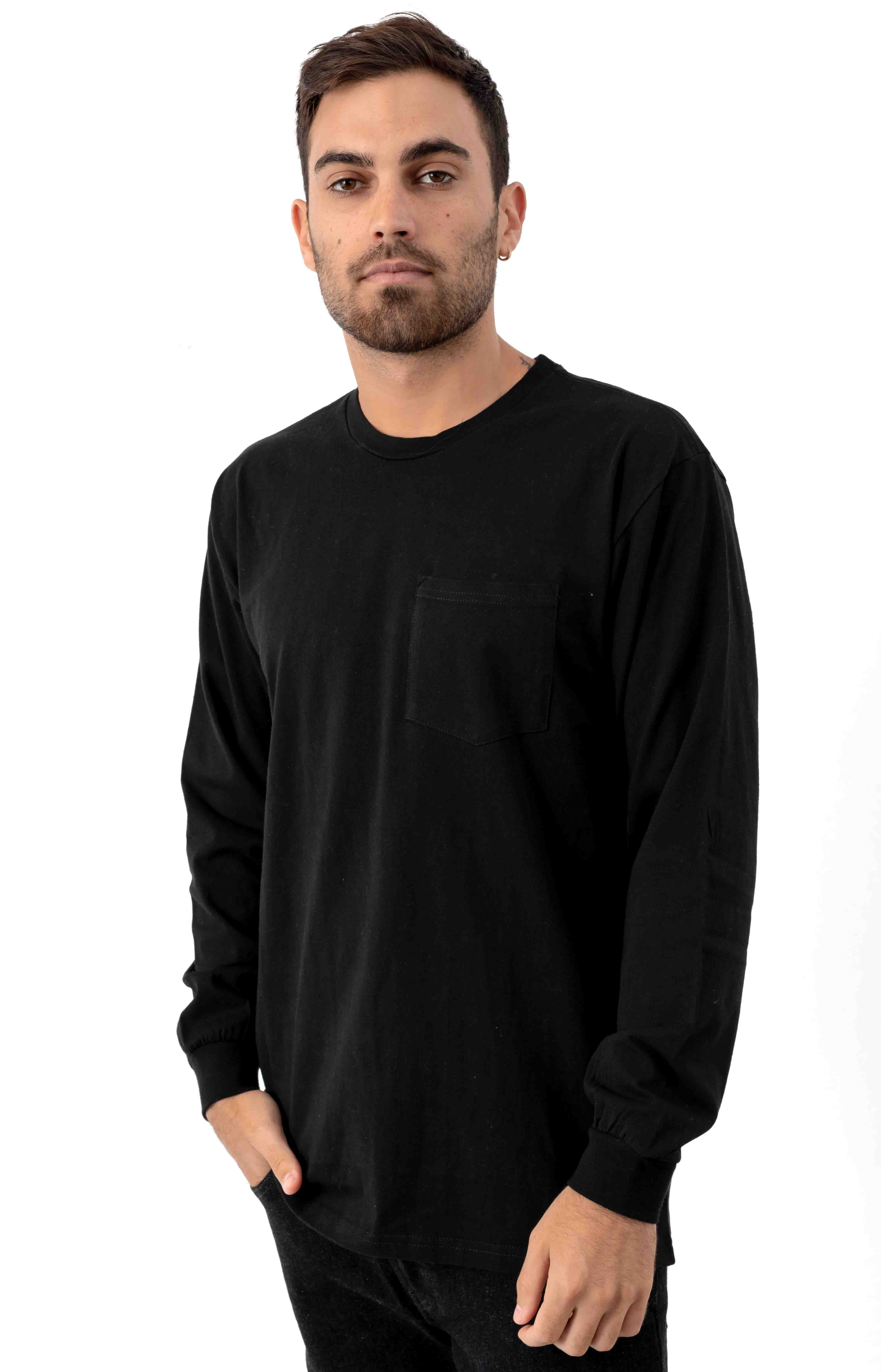Basic L/S Pocket Shirt - Black