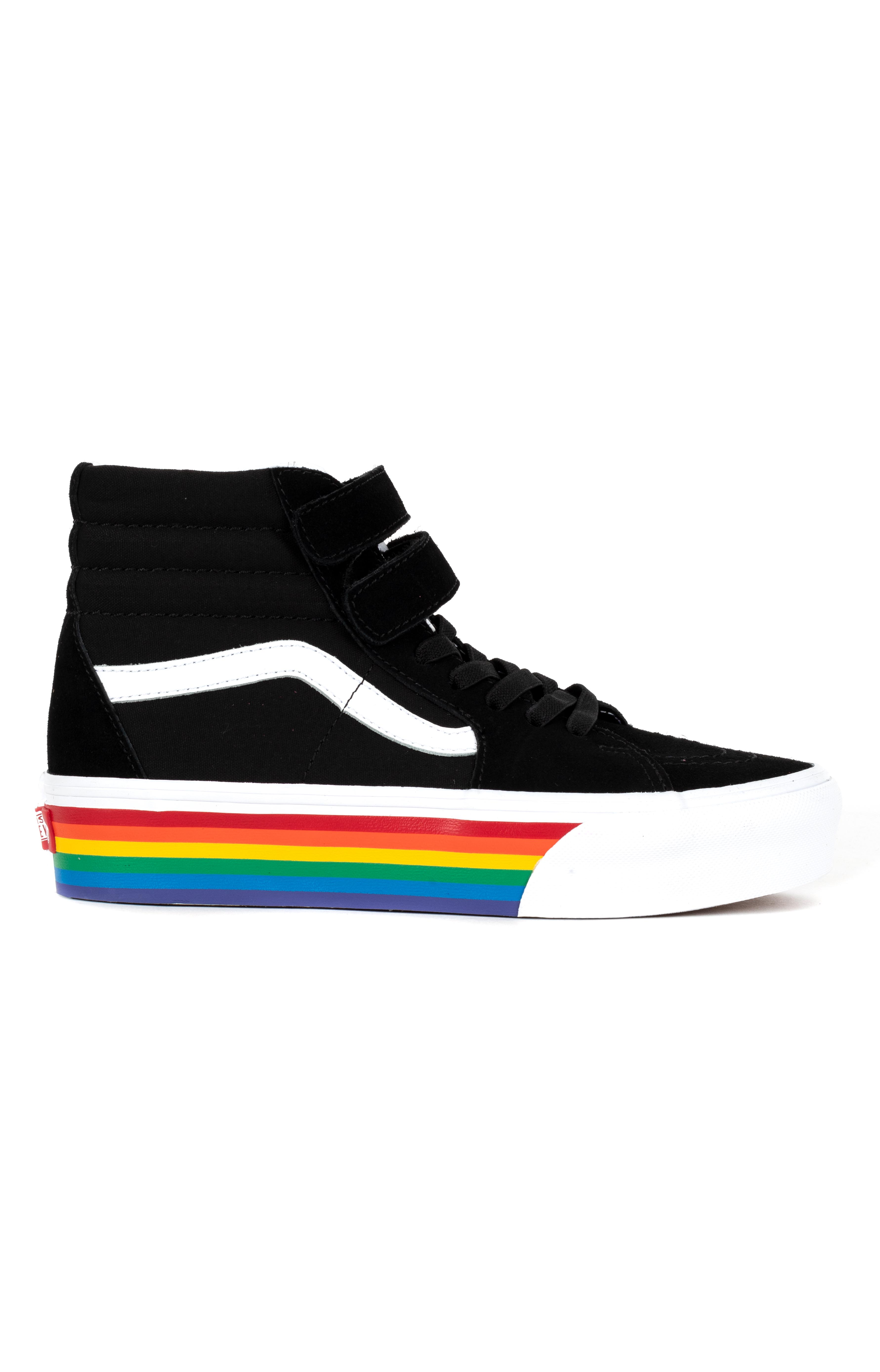 (5K4VSV) Rainbow Sk8-Hi V Platform Shoe - Black/True White