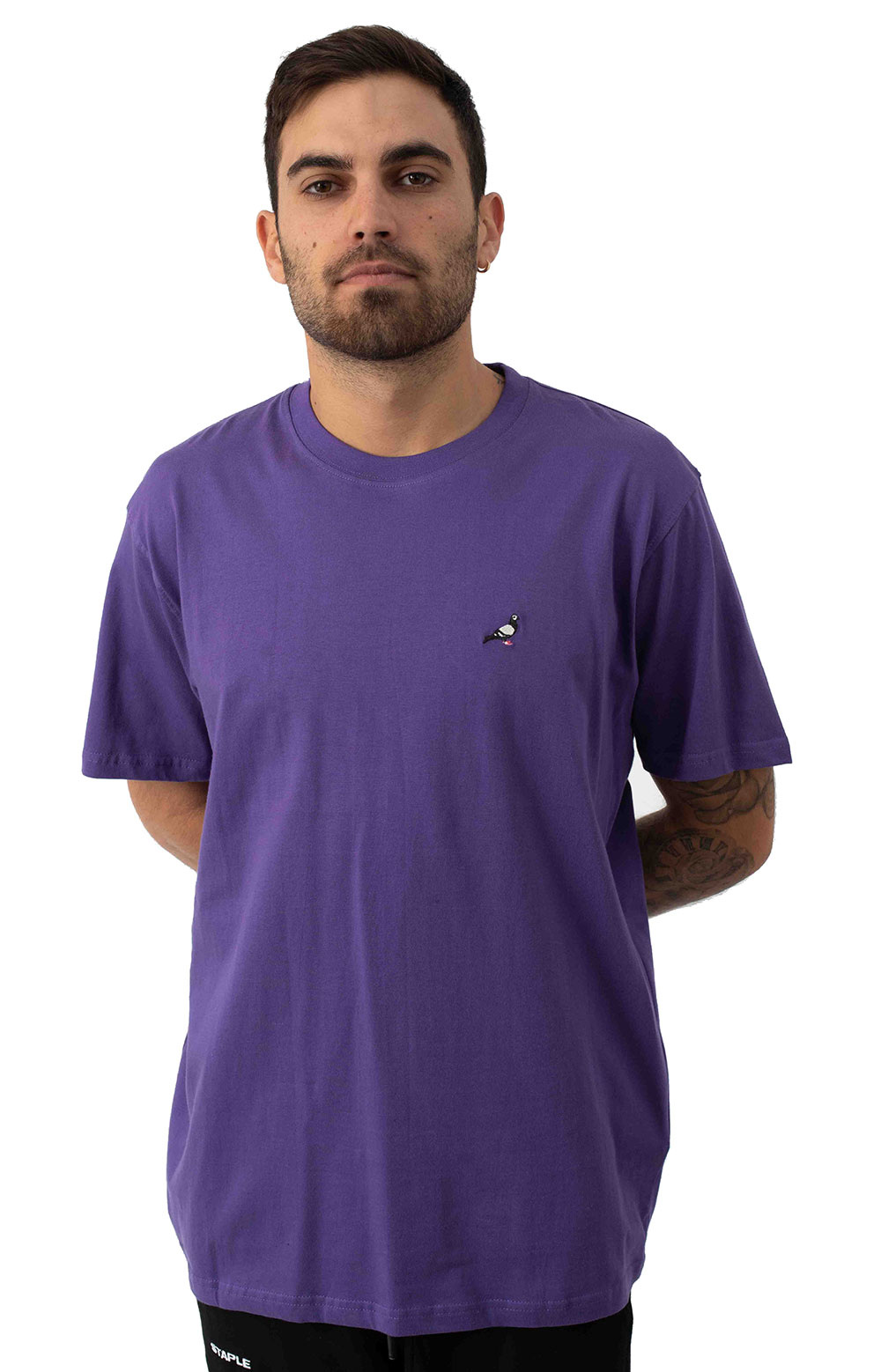 Pigeon Embroidered T-Shirt - Purple