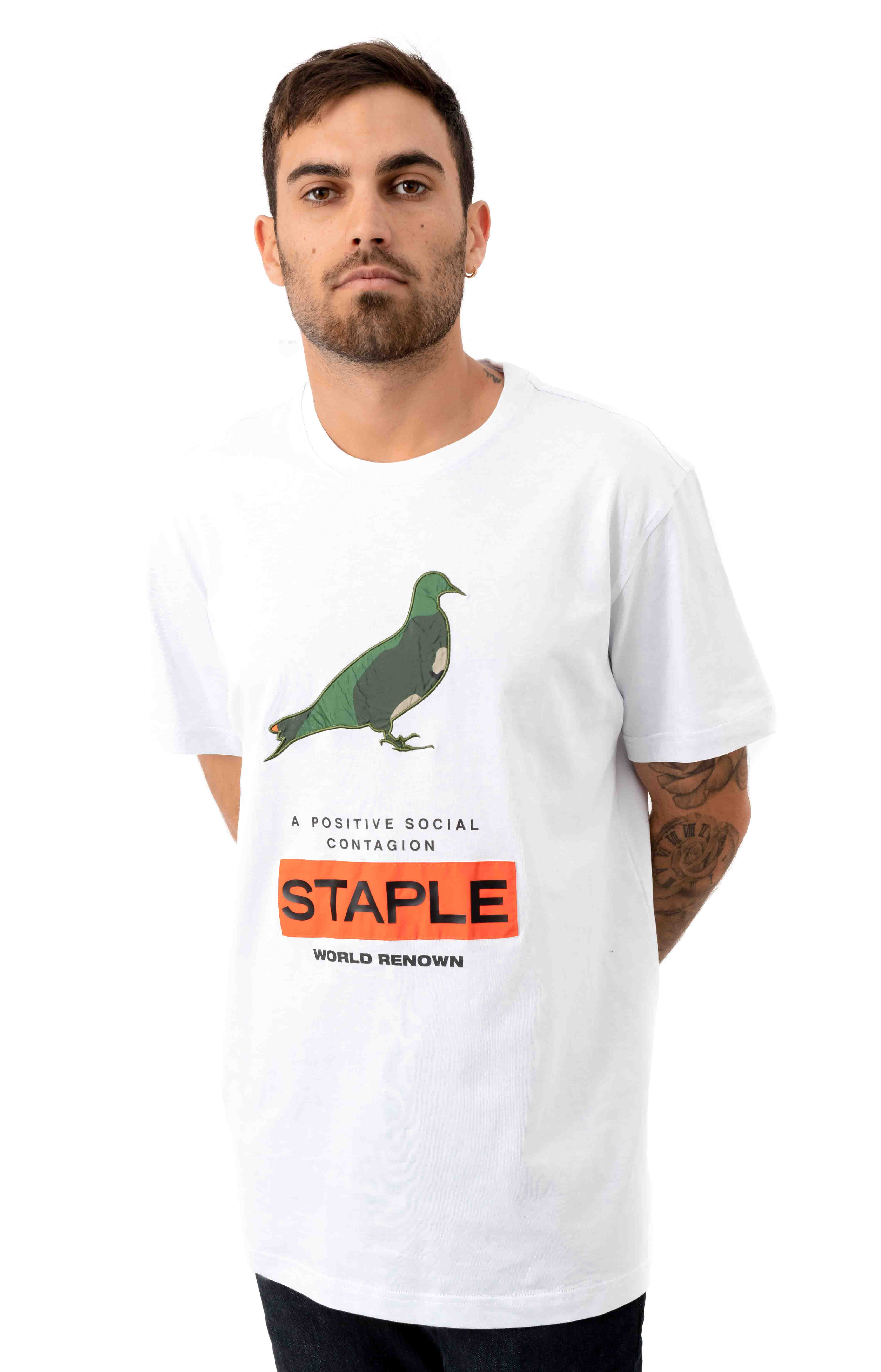 Nylon Camo Pigeon Fitted T-Shirt - White  2