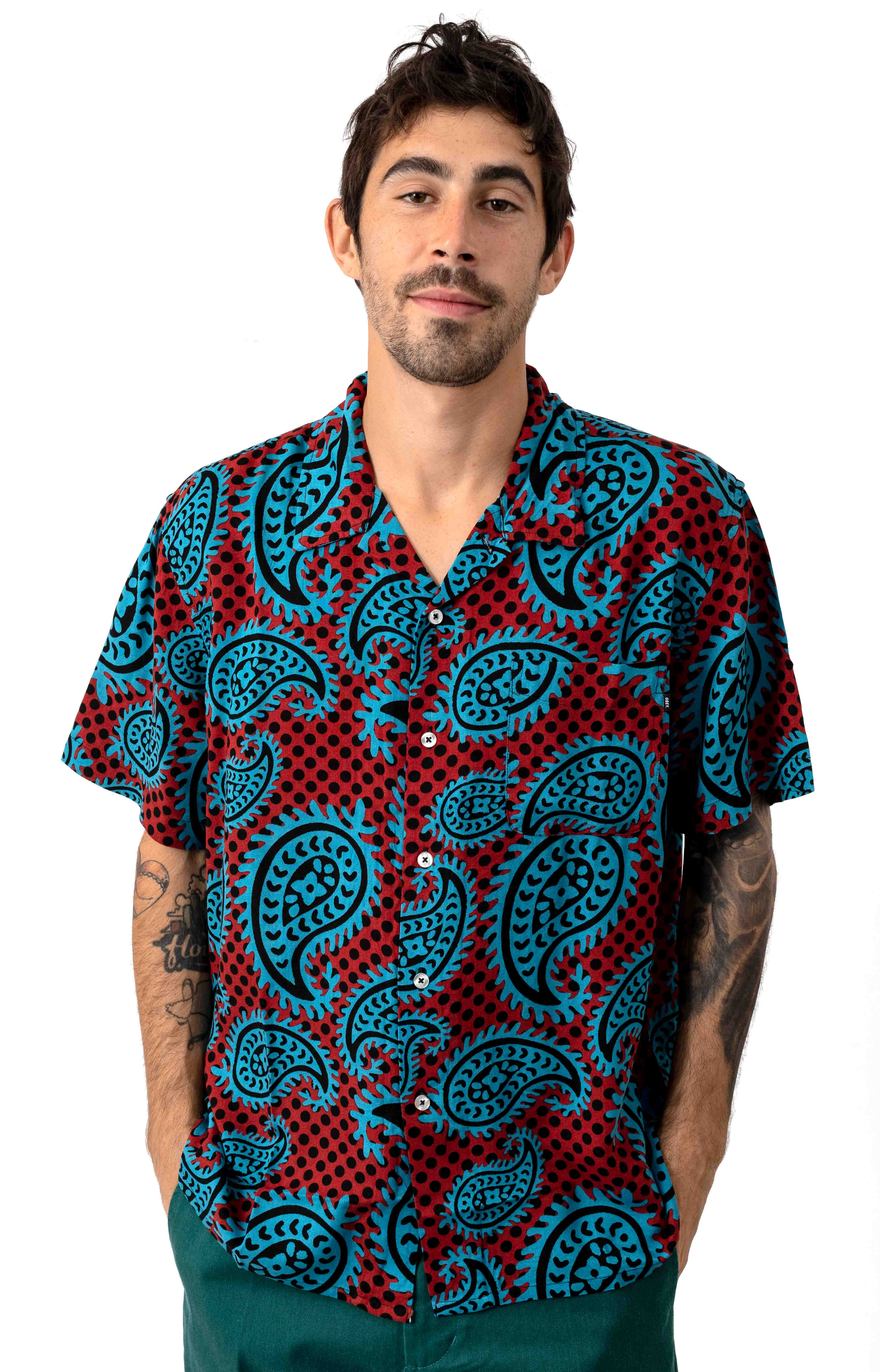 Eisley Woven Button-Up Shirt - Paisley Brick