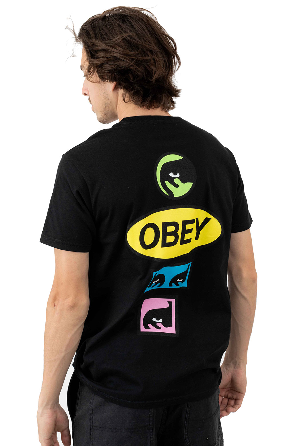 Obey Stacked T-Shirt - Black