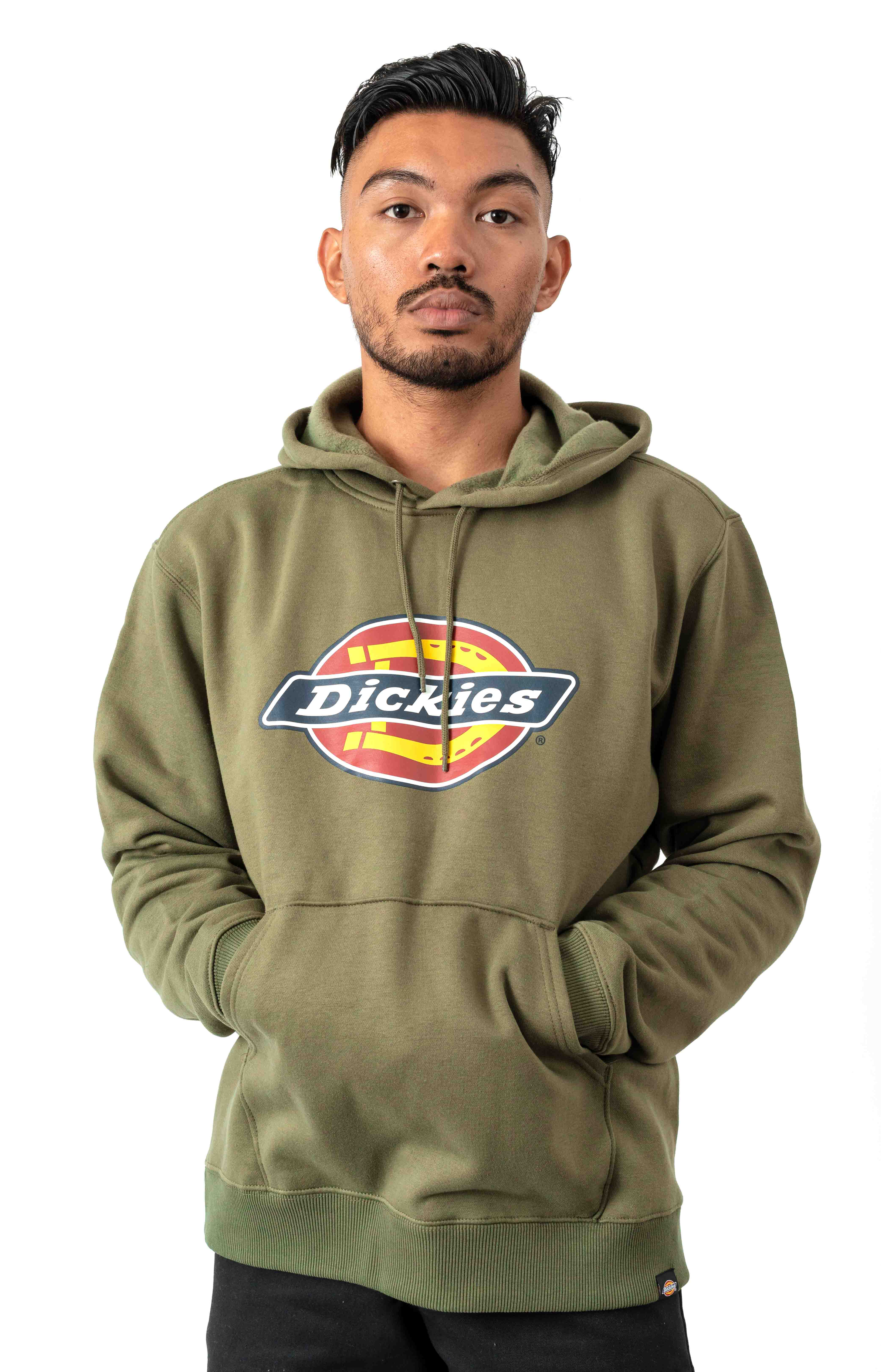 (TW45AML) Relaxed Fit Logo Fleece Pullover Hoodie - Military Green