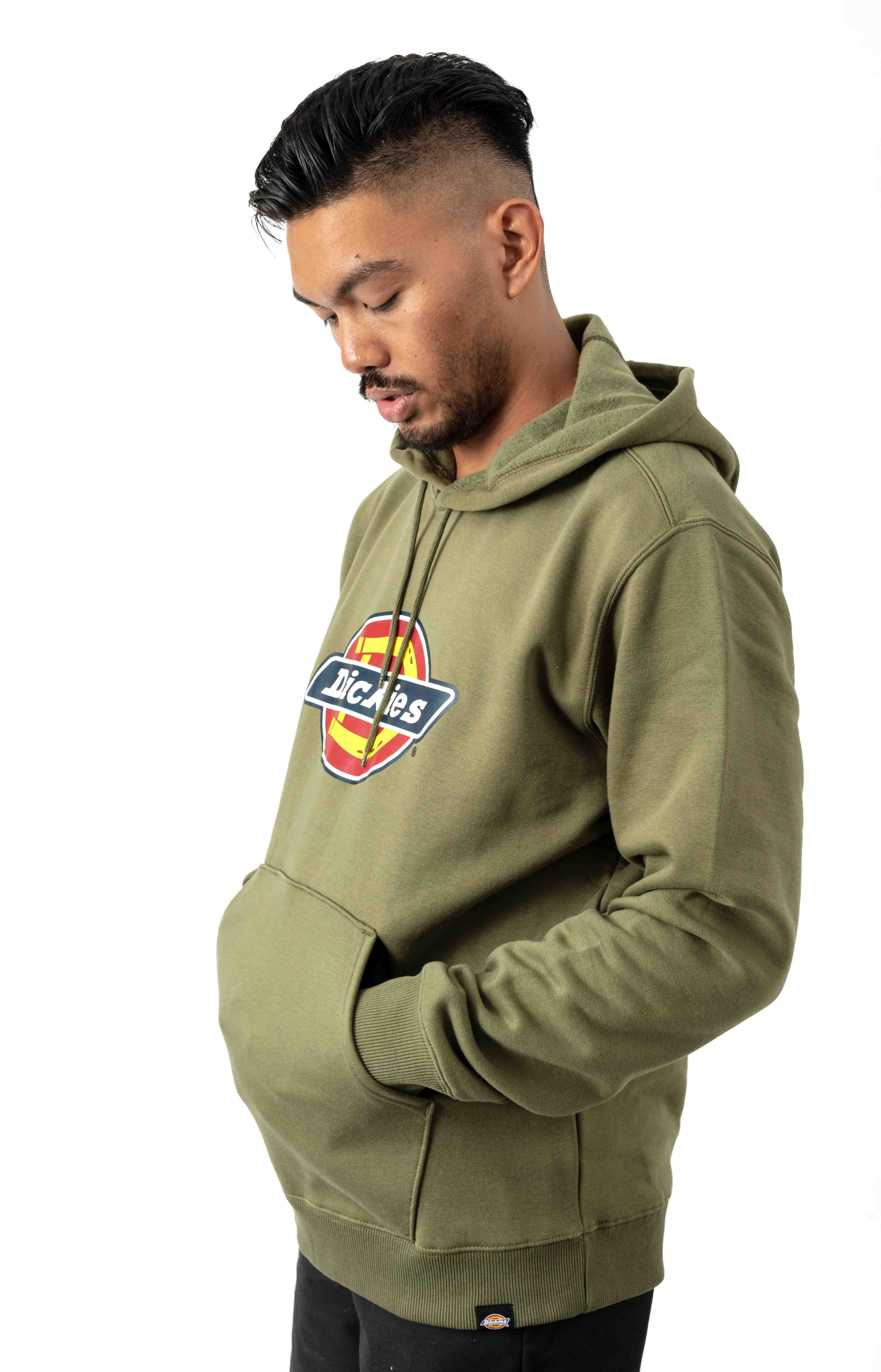 (TW45AML) Relaxed Fit Logo Fleece Pullover Hoodie - Military Green 2