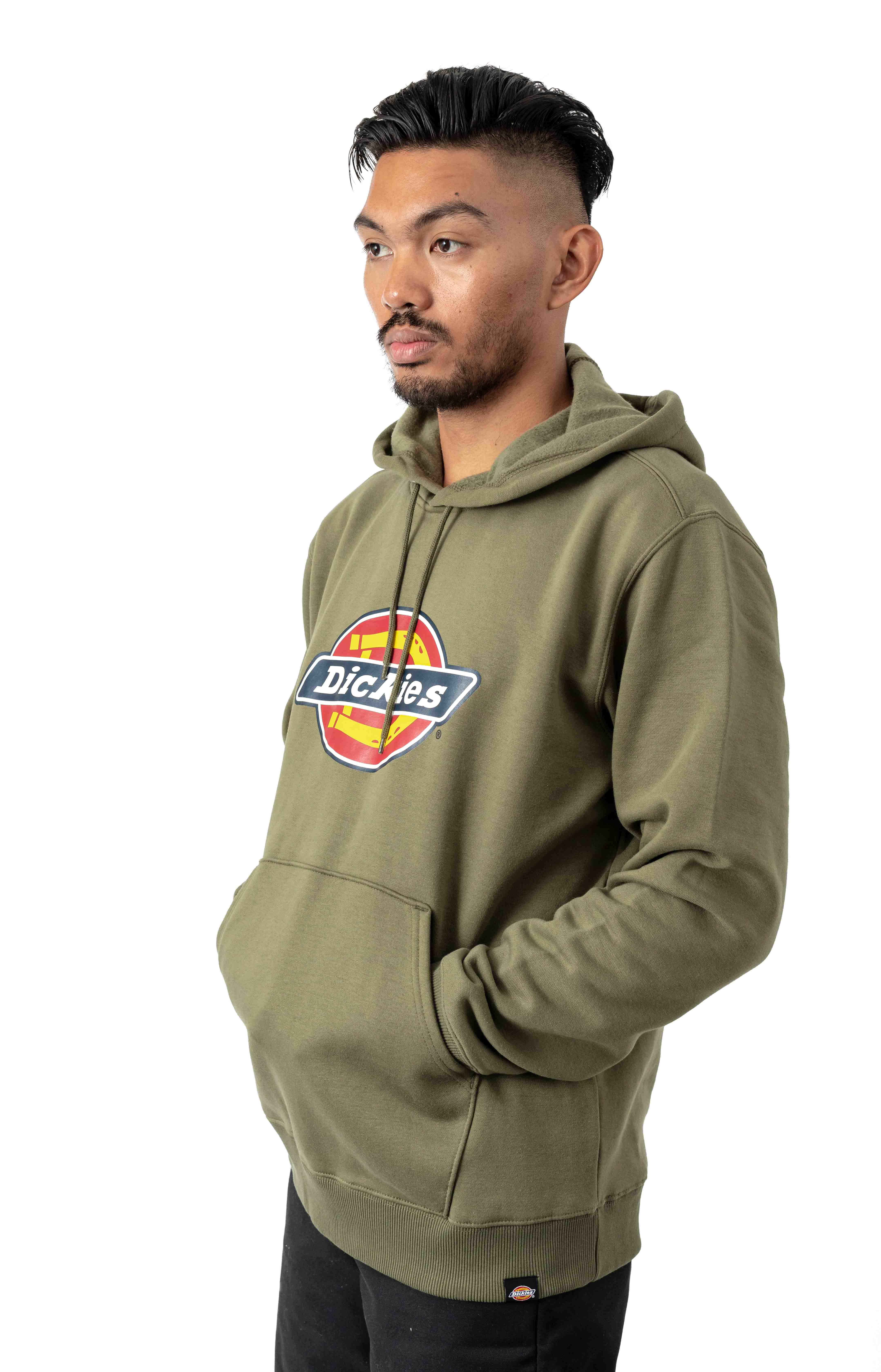 (TW45AML) Relaxed Fit Logo Fleece Pullover Hoodie - Military Green 3
