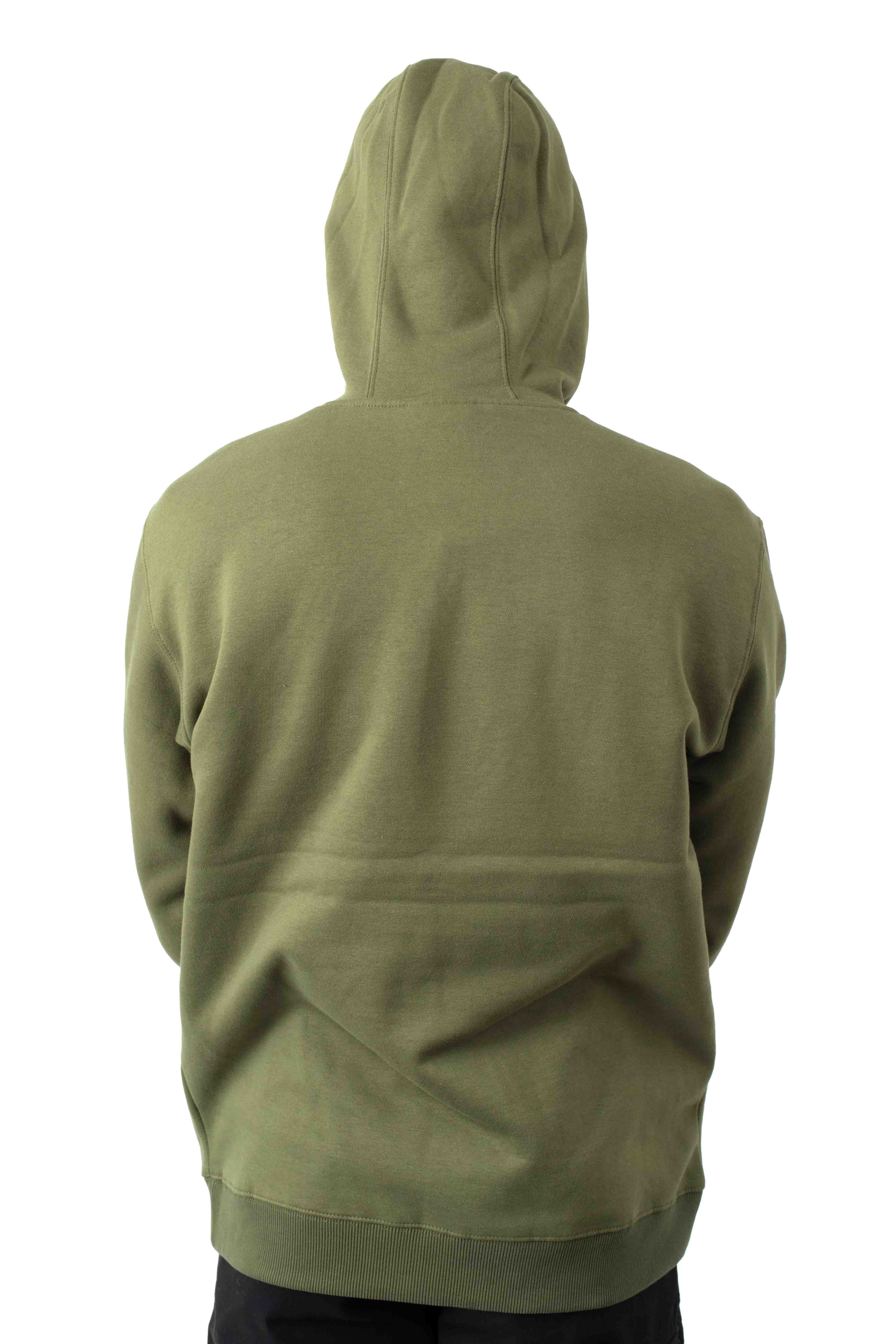 (TW45AML) Relaxed Fit Logo Fleece Pullover Hoodie - Military Green 4