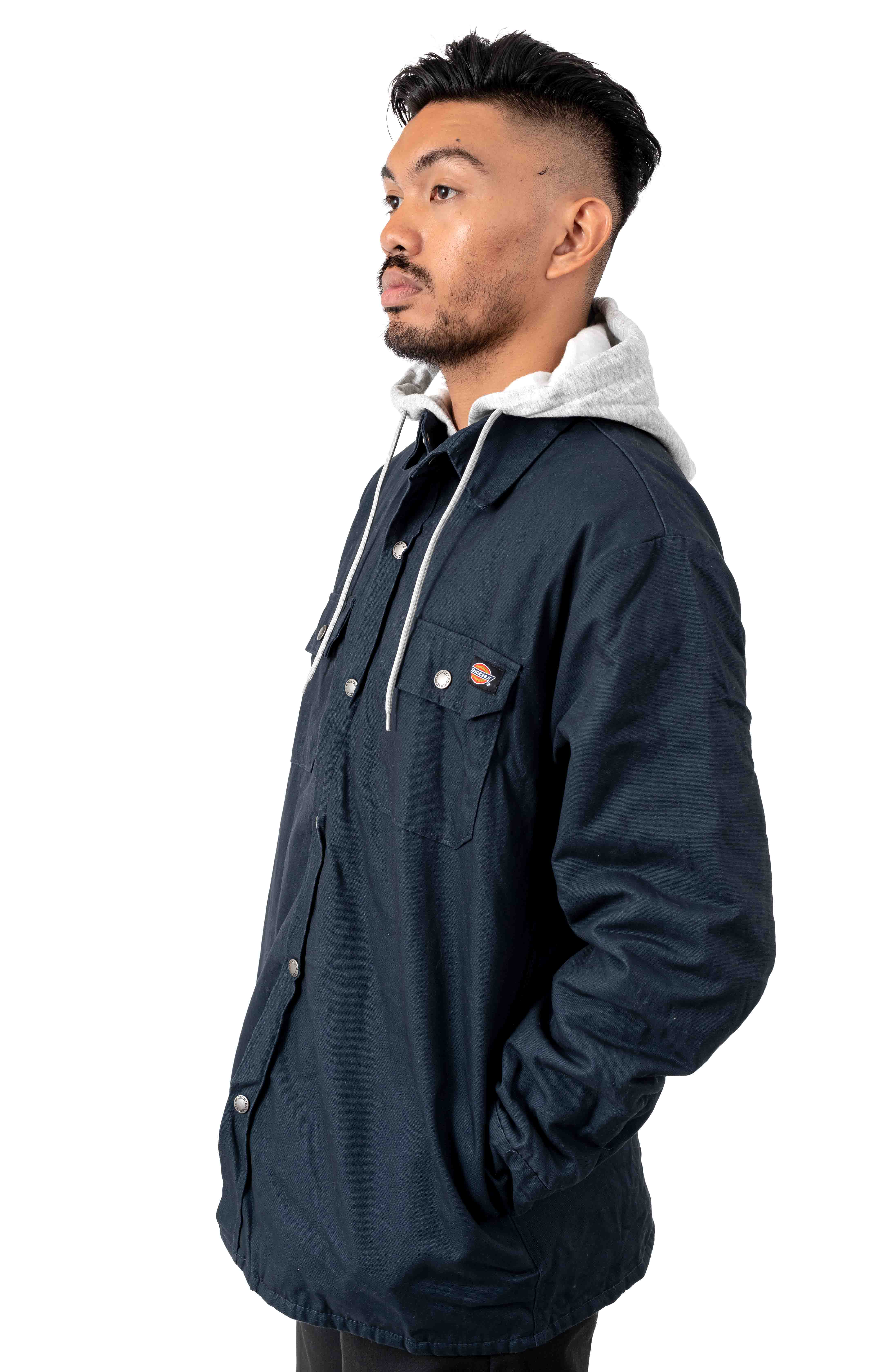 (TJ203DN) Relaxed Fit Icon Hooded Duck Quilted Shirt Jacket - Dark Navy 2