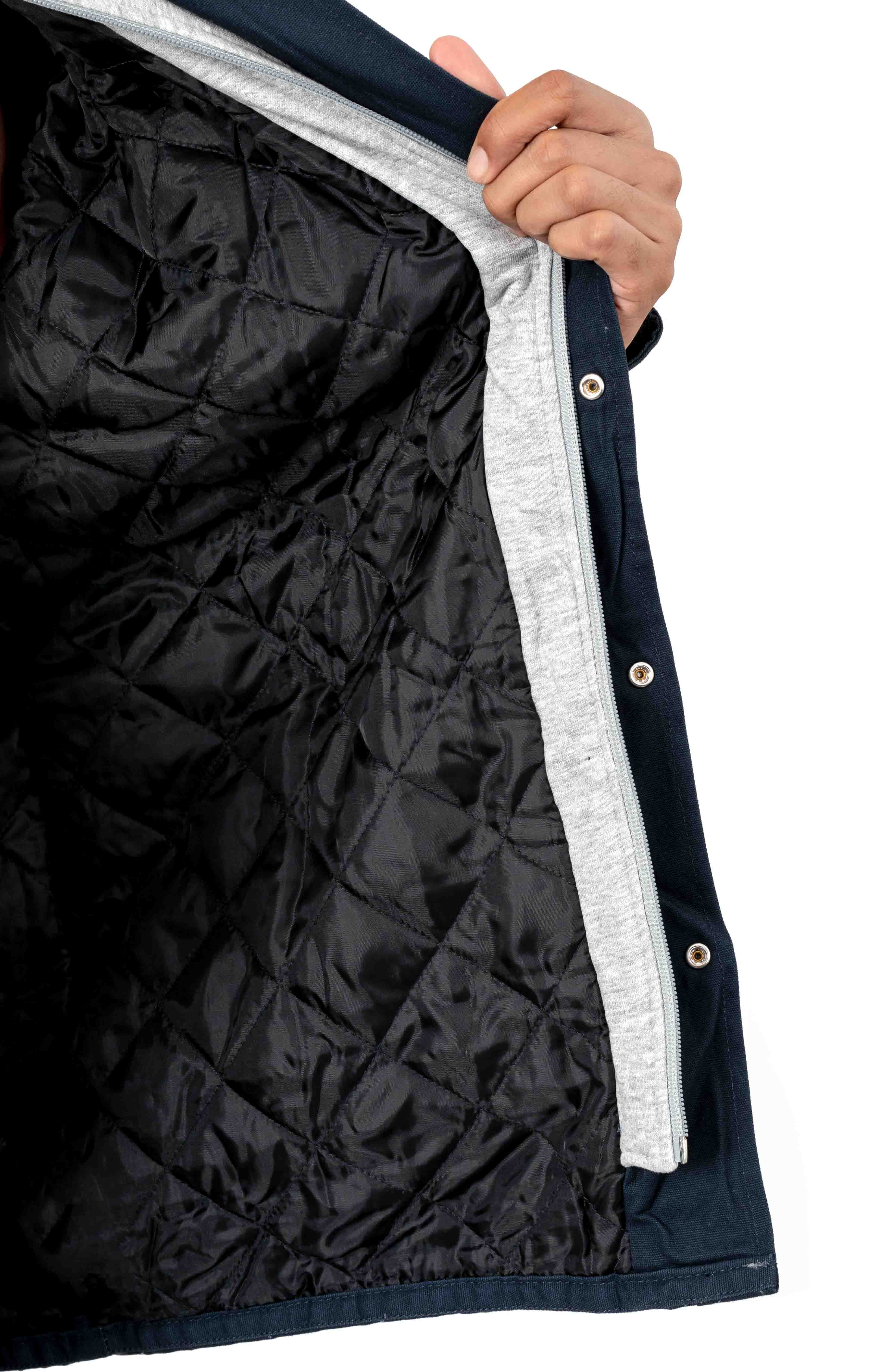 (TJ203DN) Relaxed Fit Icon Hooded Duck Quilted Shirt Jacket - Dark Navy 5