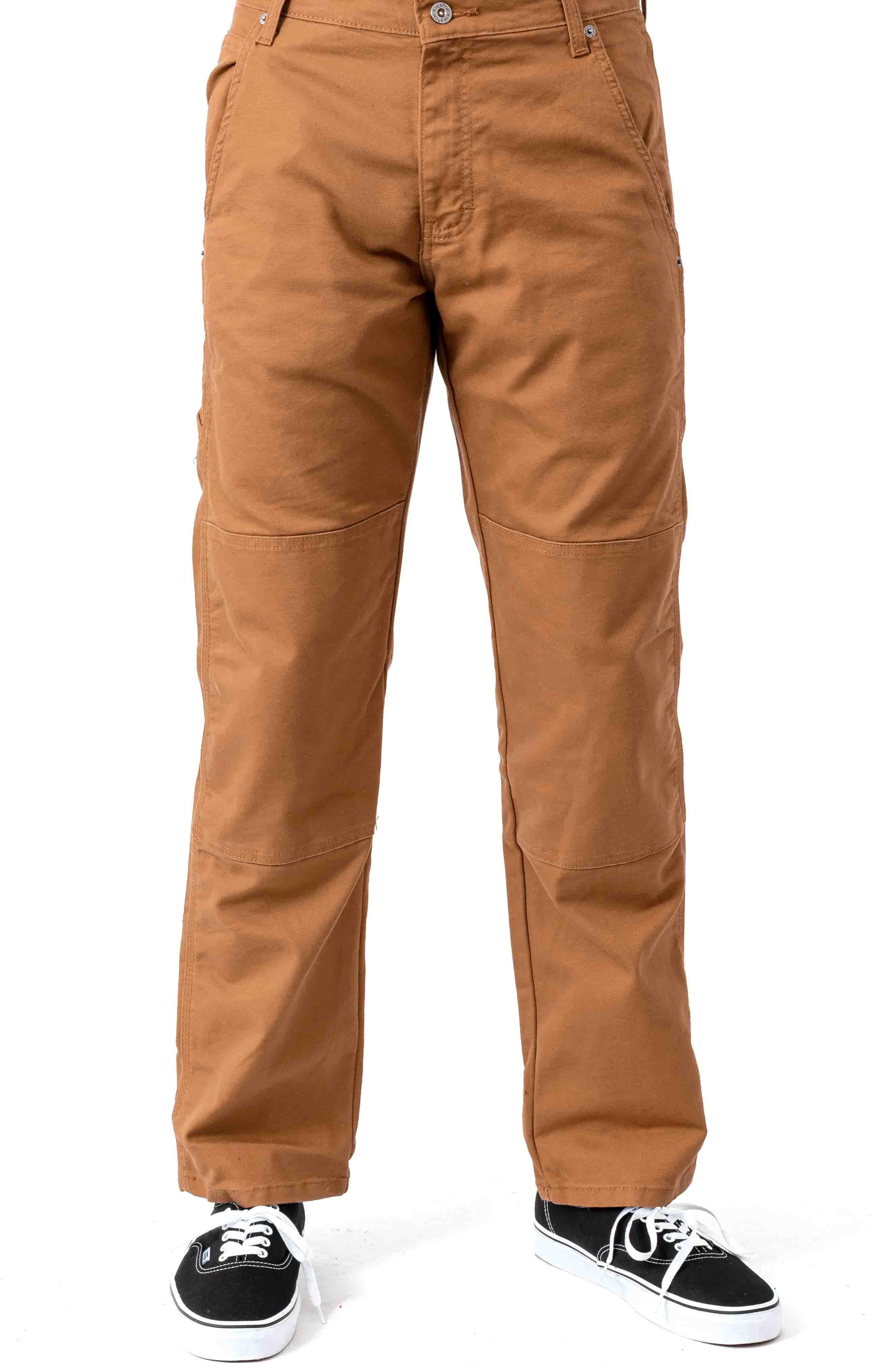 (DP903SBD) FLEX Regular Fit Tough Max Duck Double Knee Pant - Stonewashed Brown Duck 2