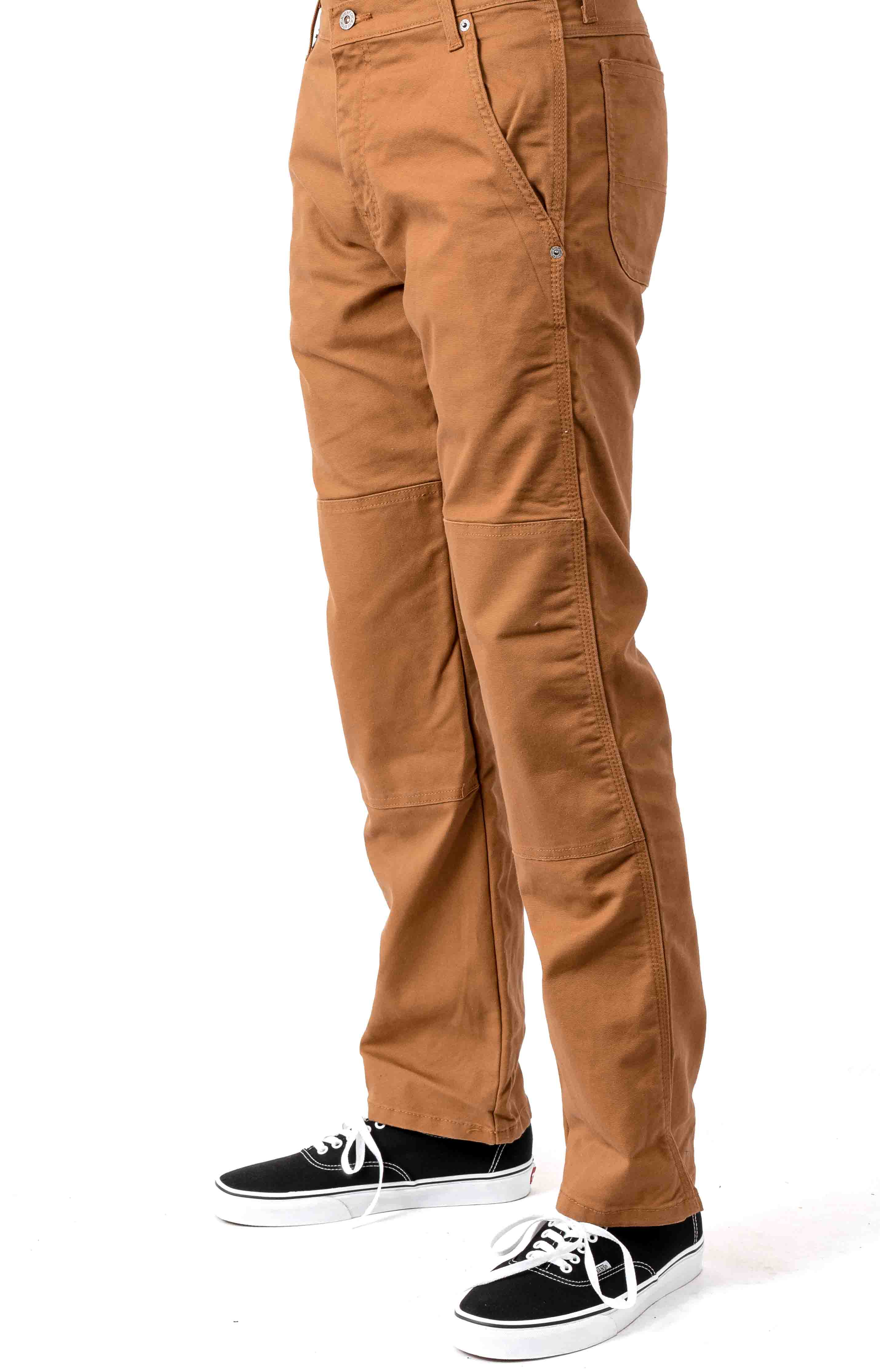 (DP903SBD) FLEX Regular Fit Tough Max Duck Double Knee Pant - Stonewashed Brown Duck