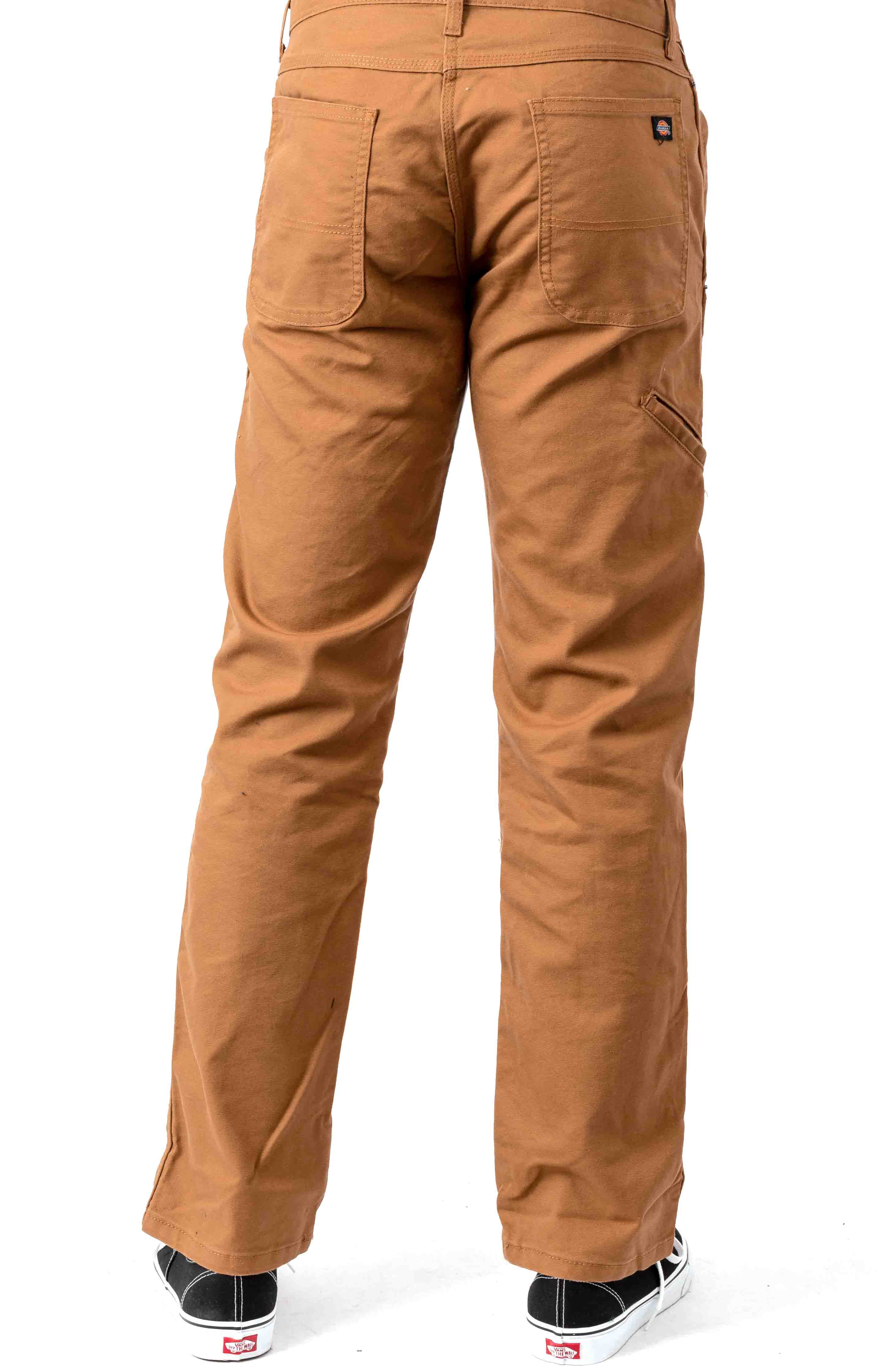 (DP903SBD) FLEX Regular Fit Tough Max Duck Double Knee Pant - Stonewashed Brown Duck 3