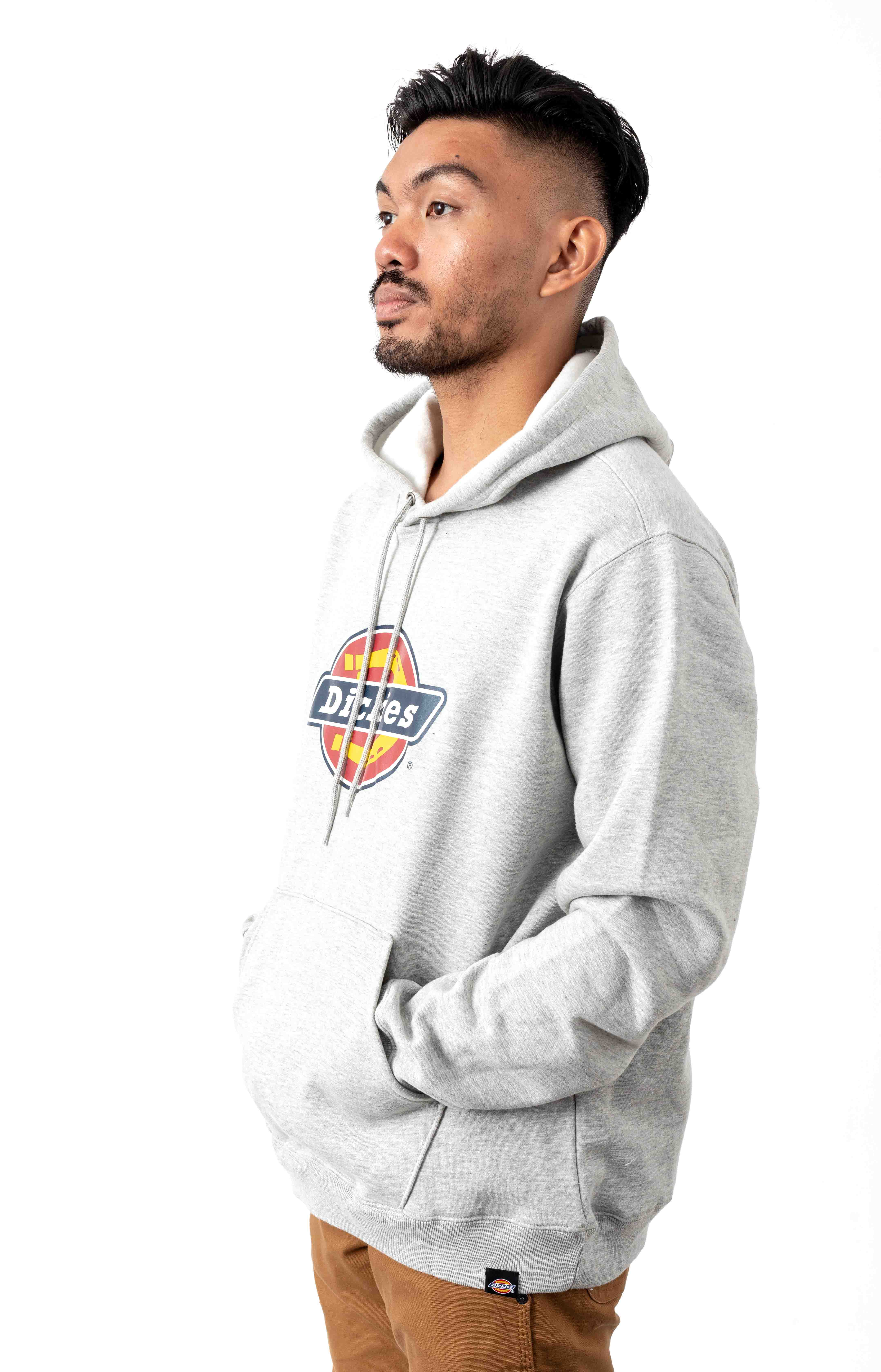 (TW45AHG) Relaxed Fit Logo Fleece Pullover Hoodie - Heather Grey 2