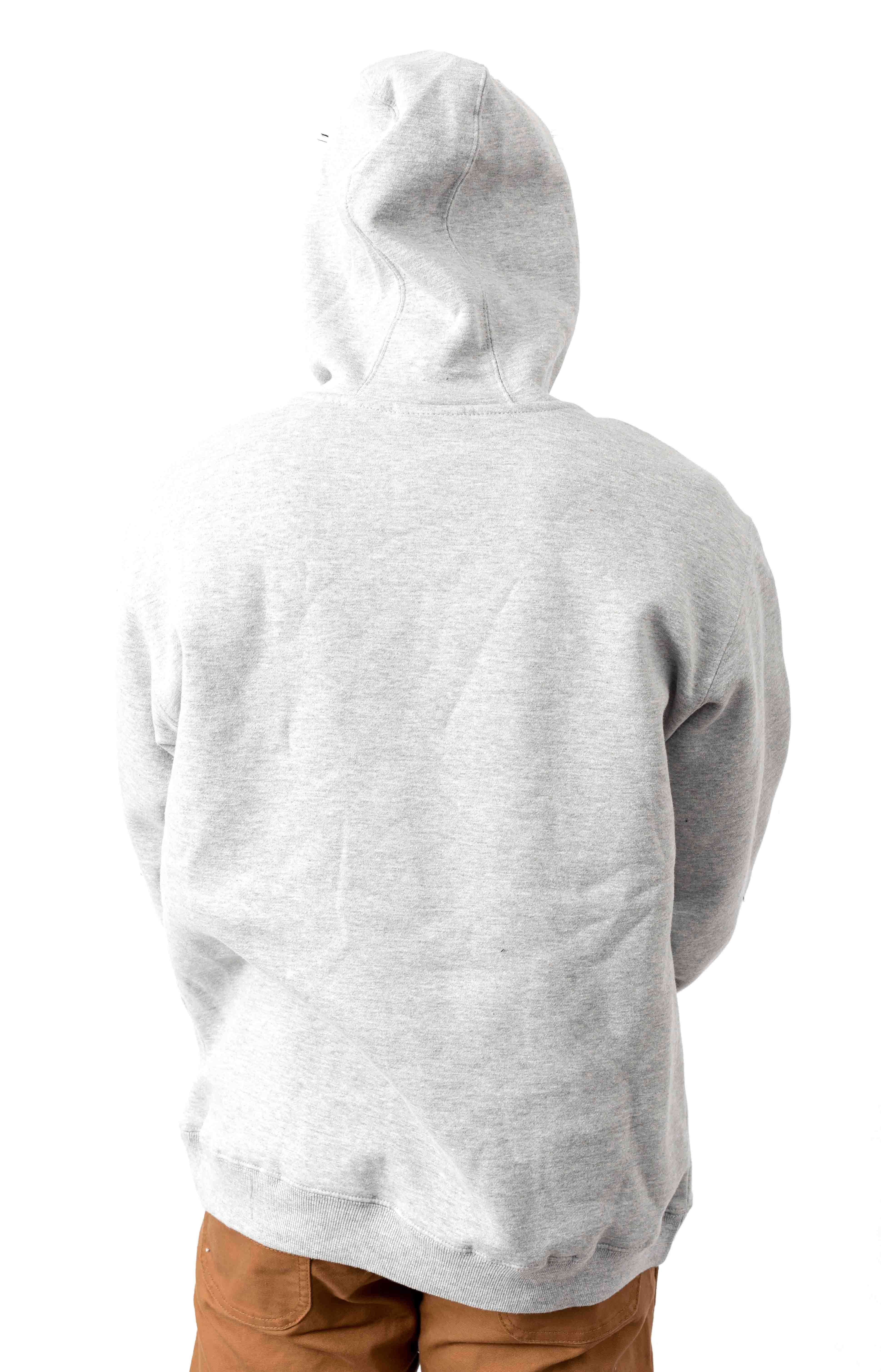(TW45AHG) Relaxed Fit Logo Fleece Pullover Hoodie - Heather Grey 3