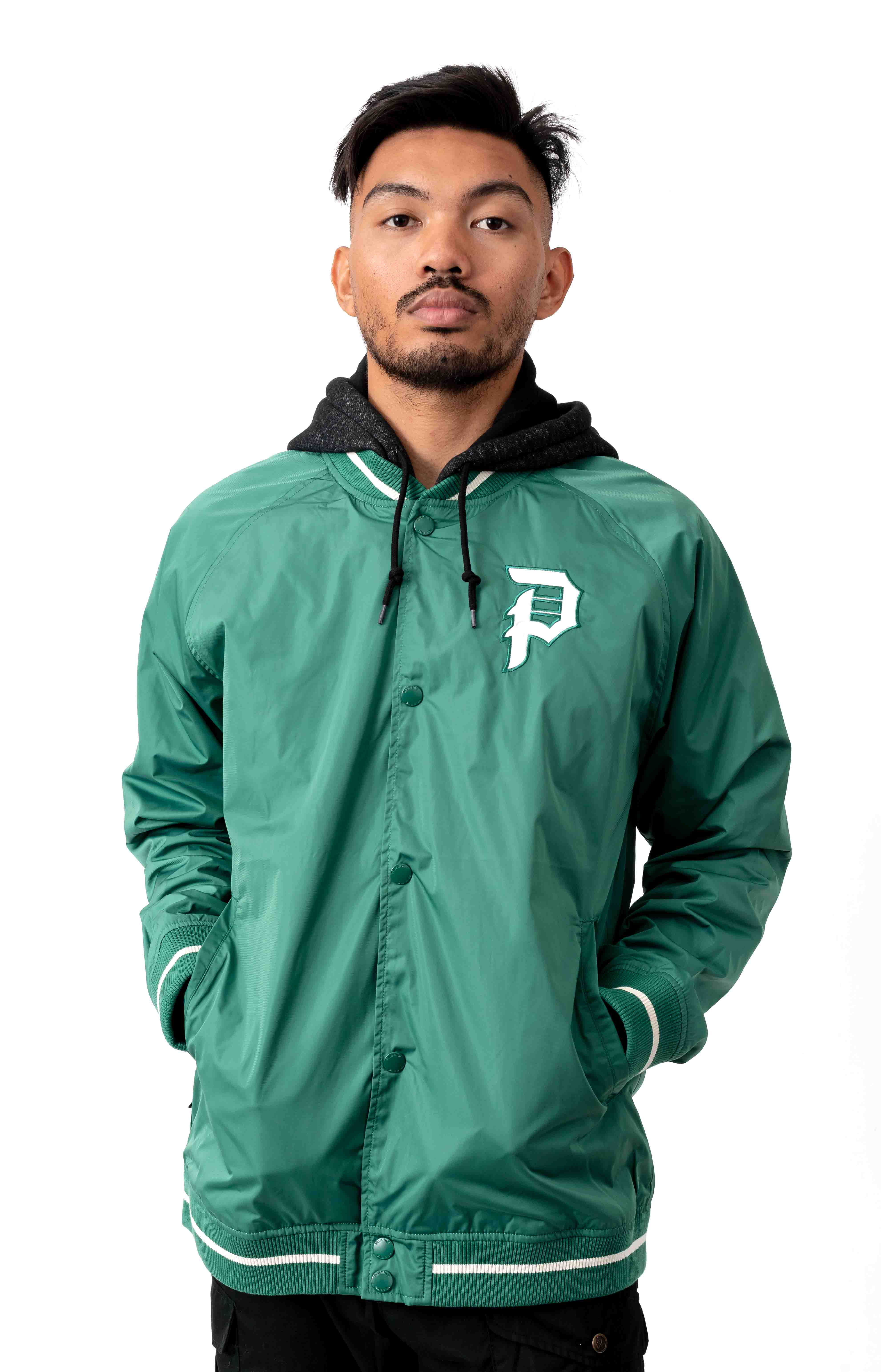Two Fer Varsity Jacket - Forest Green