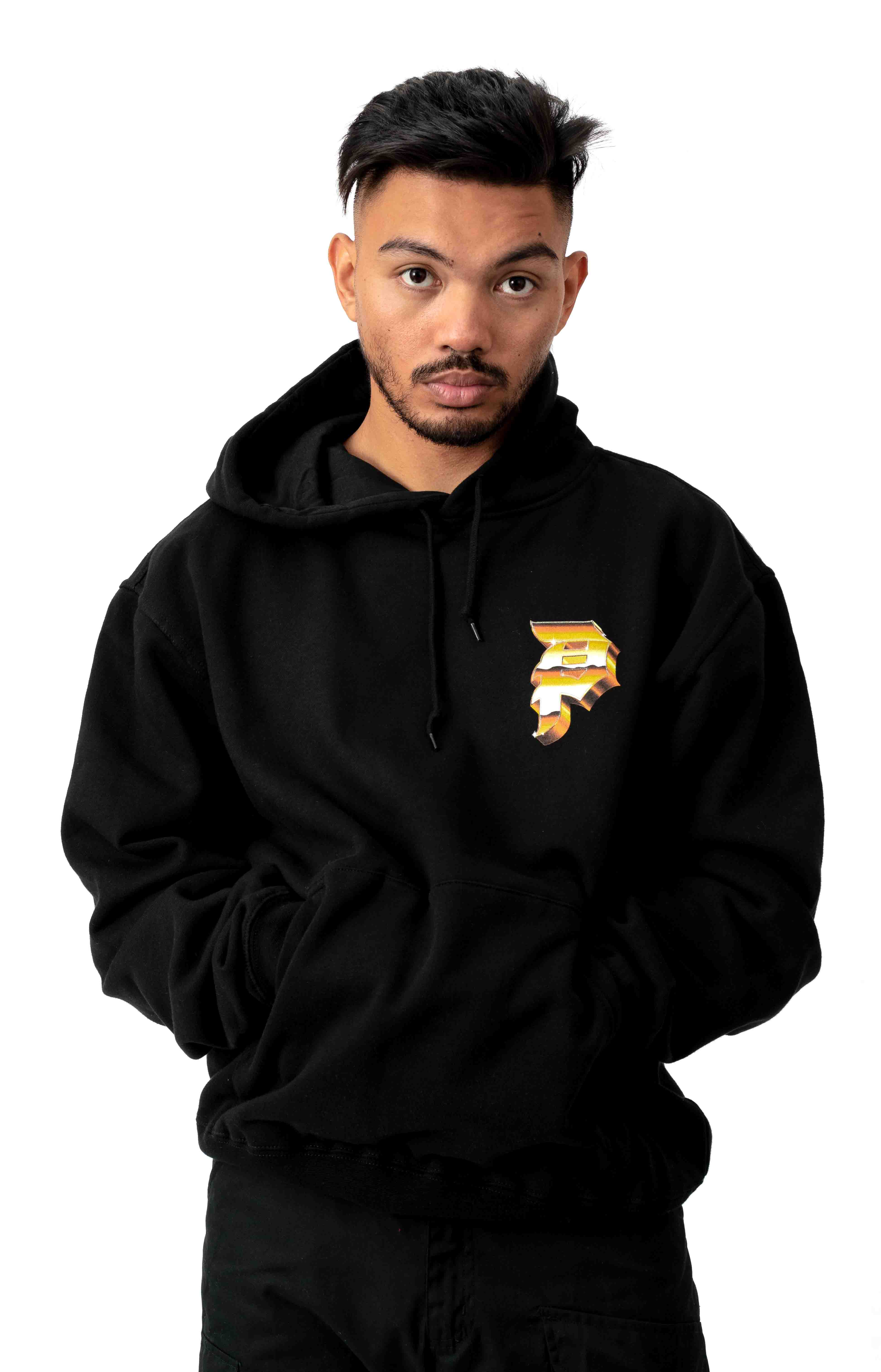 Heavyweight Dirty P Pullover Hoodie - Black