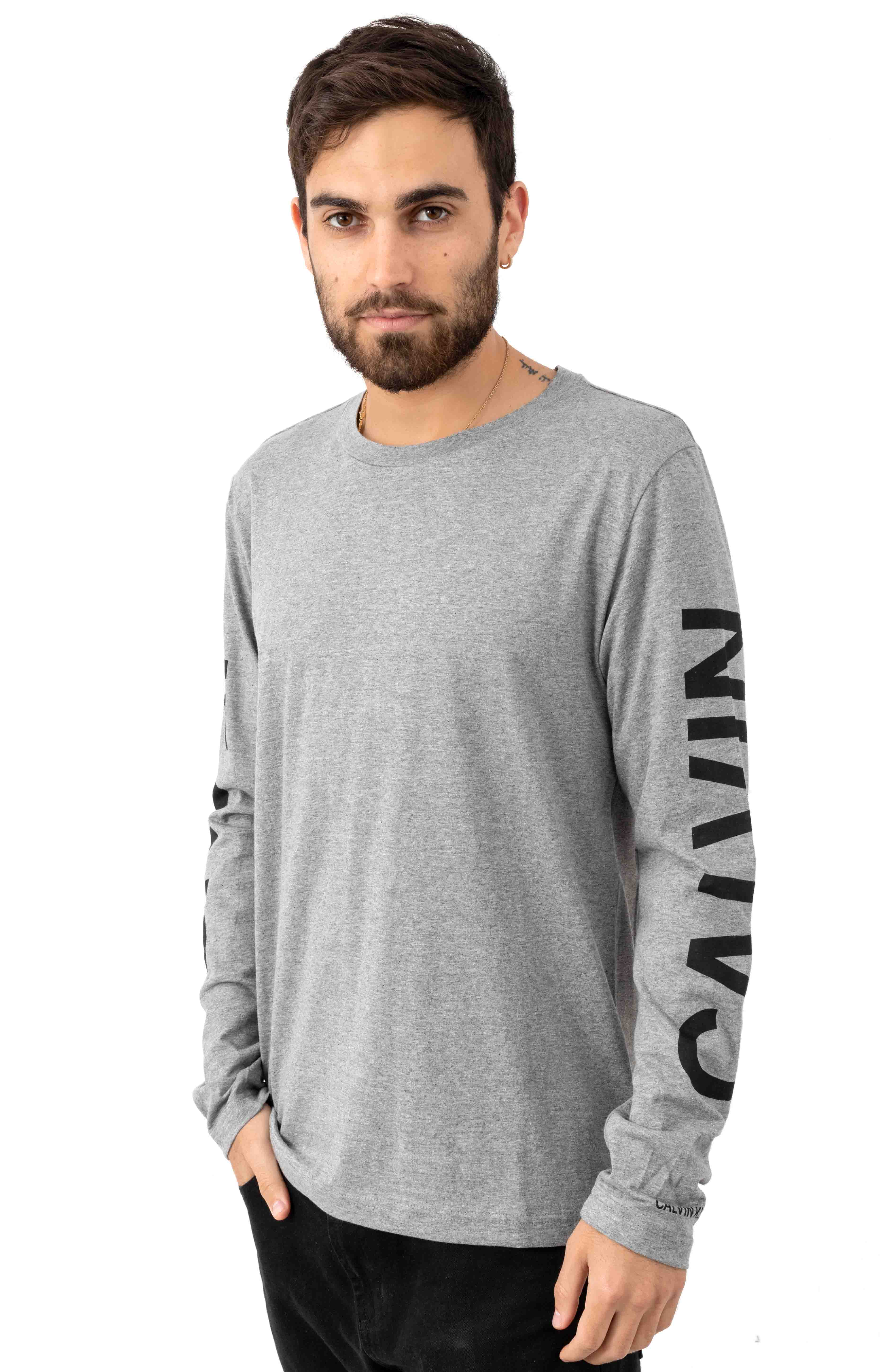 Regular Fit Oversized Institutional Logo L/S Shirt - Grey Heather