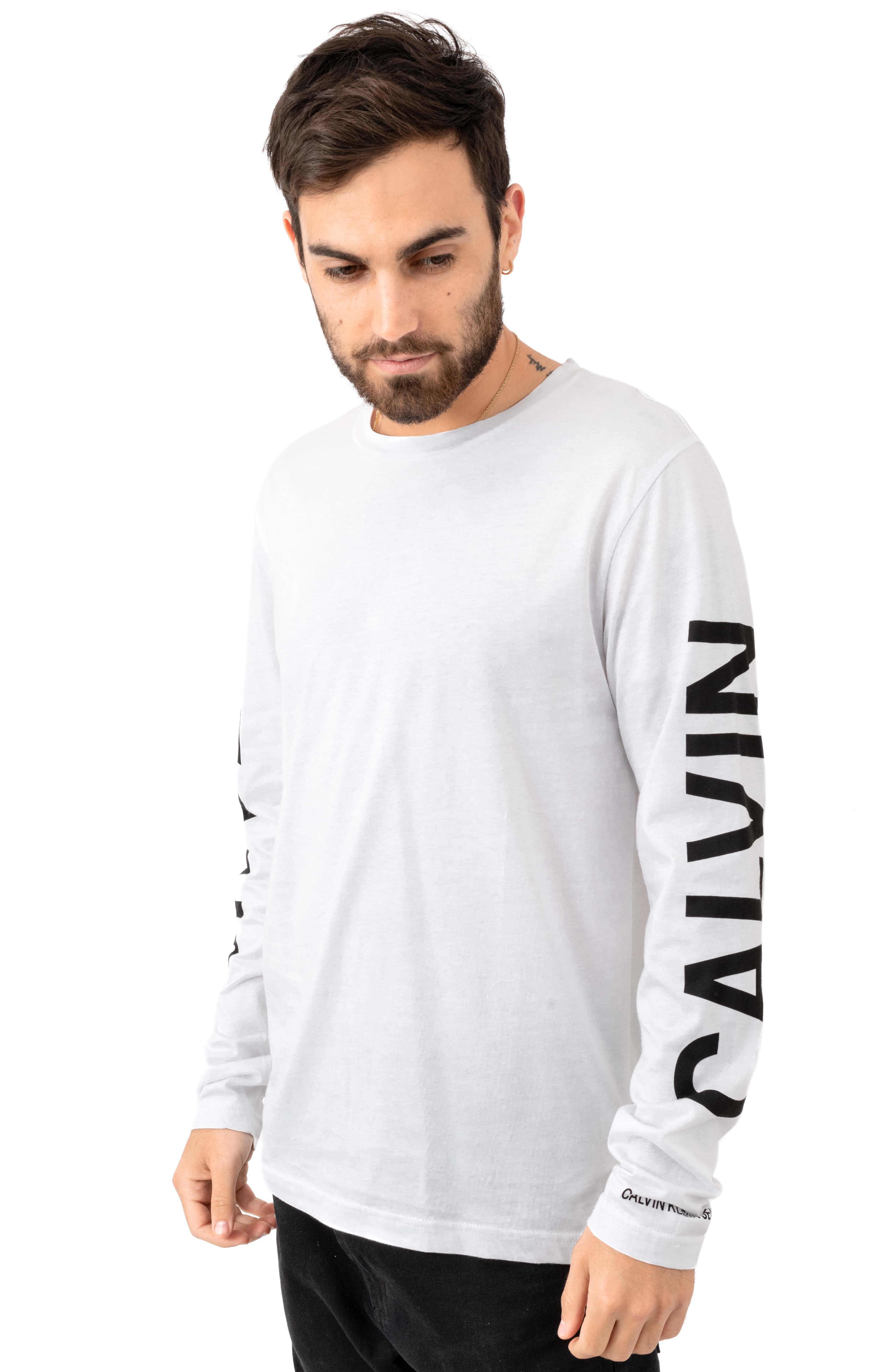 Regular Fit Oversized Institutional Logo L/S Shirt - Brilliant White