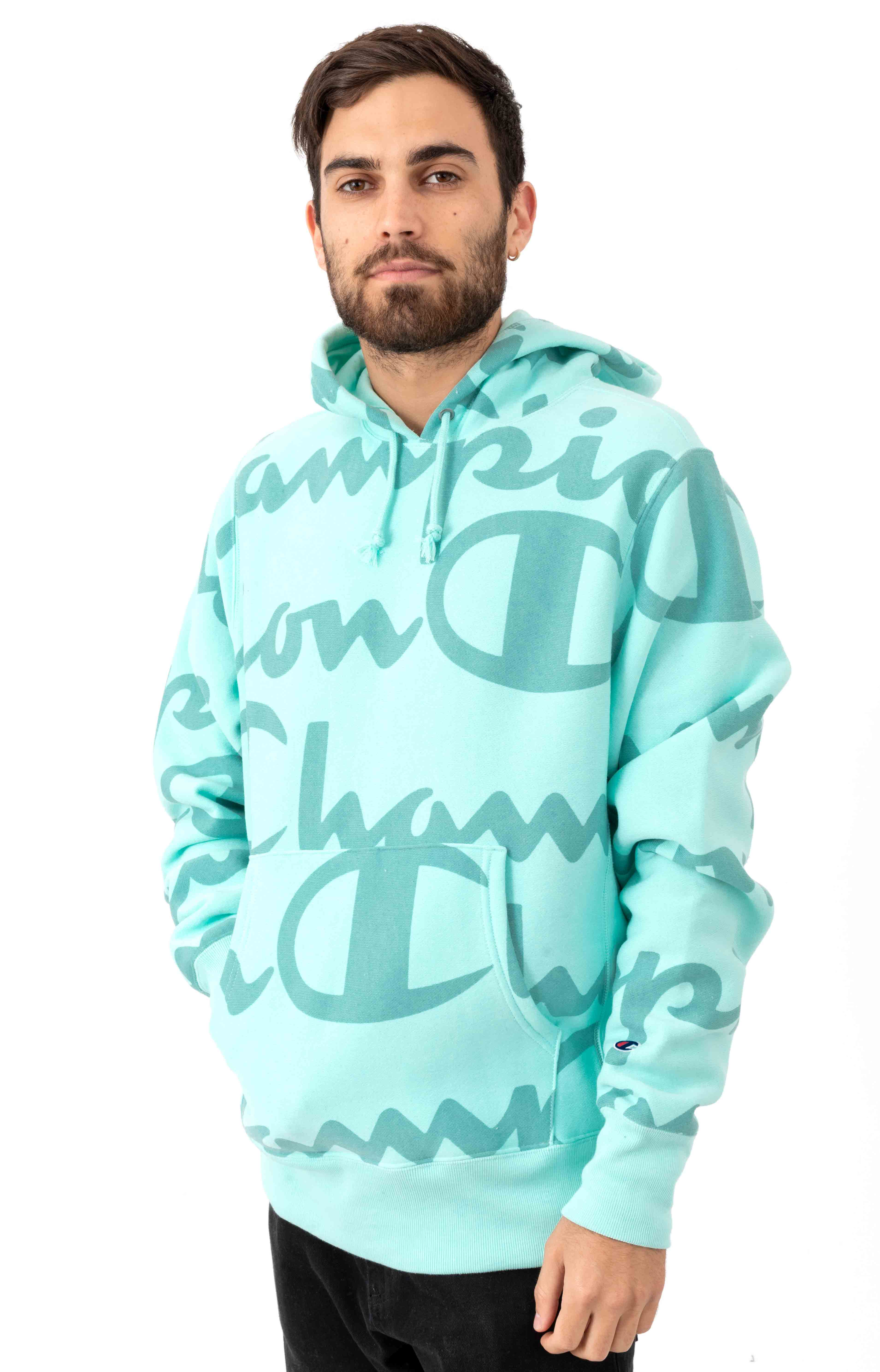 RW Giant AO Script Pullover Hoodie - Waterfall Green