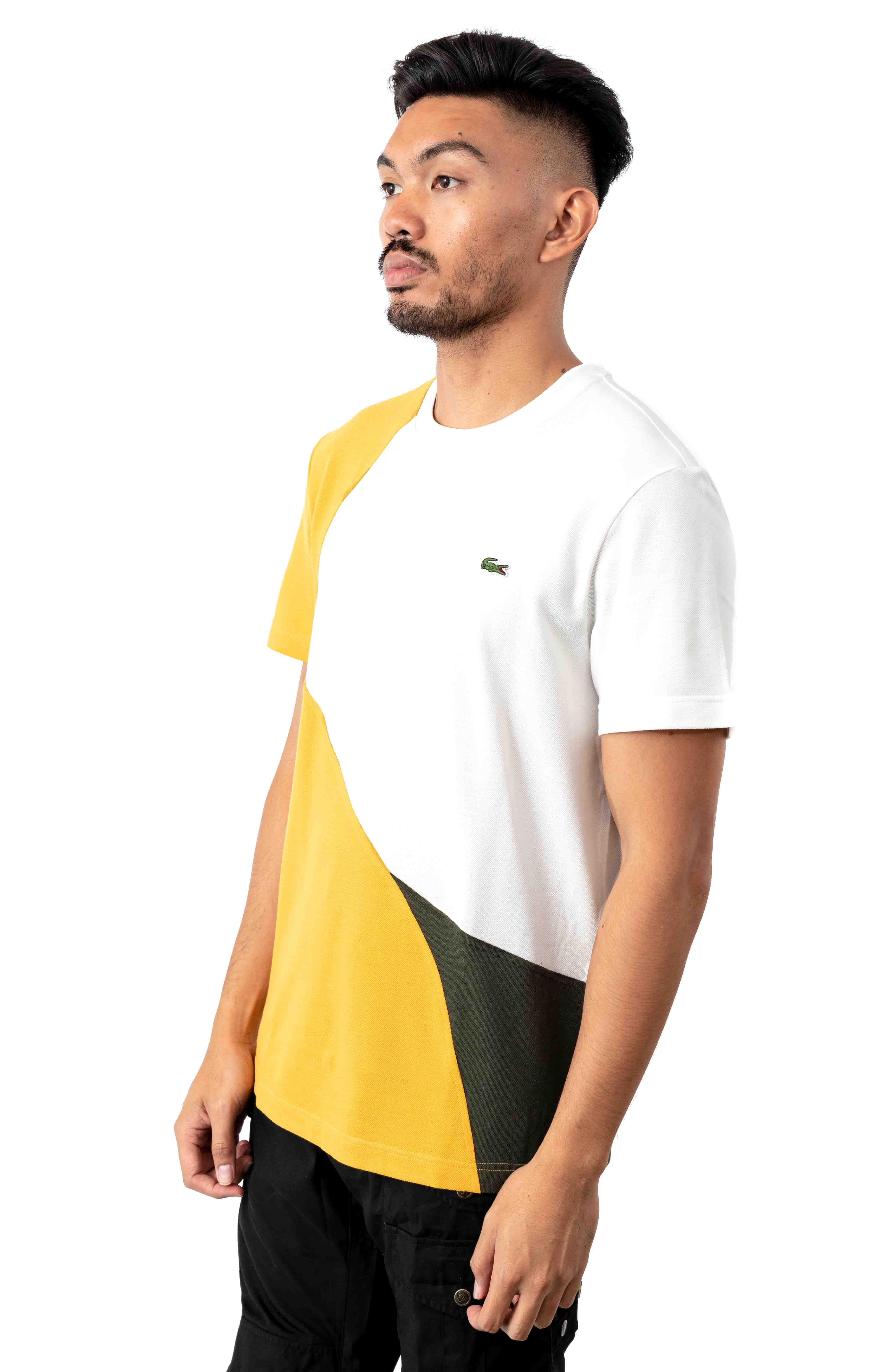 Crewneck Color-Blocked Thermoregulating Piqué T-Shirt - Yellow/Khaki/Green/White 2