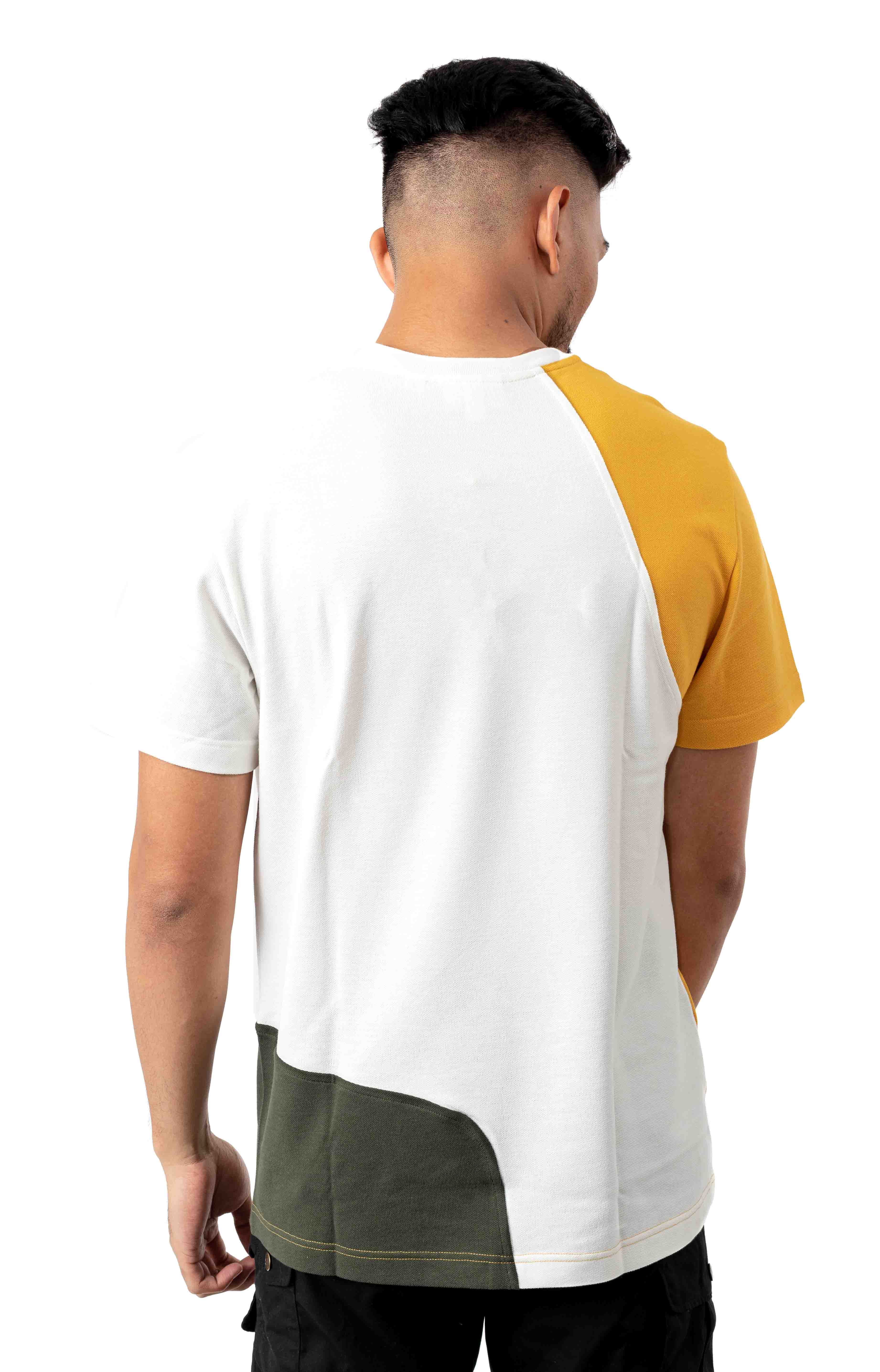 Crewneck Color-Blocked Thermoregulating Piqué T-Shirt - Yellow/Khaki/Green/White 3