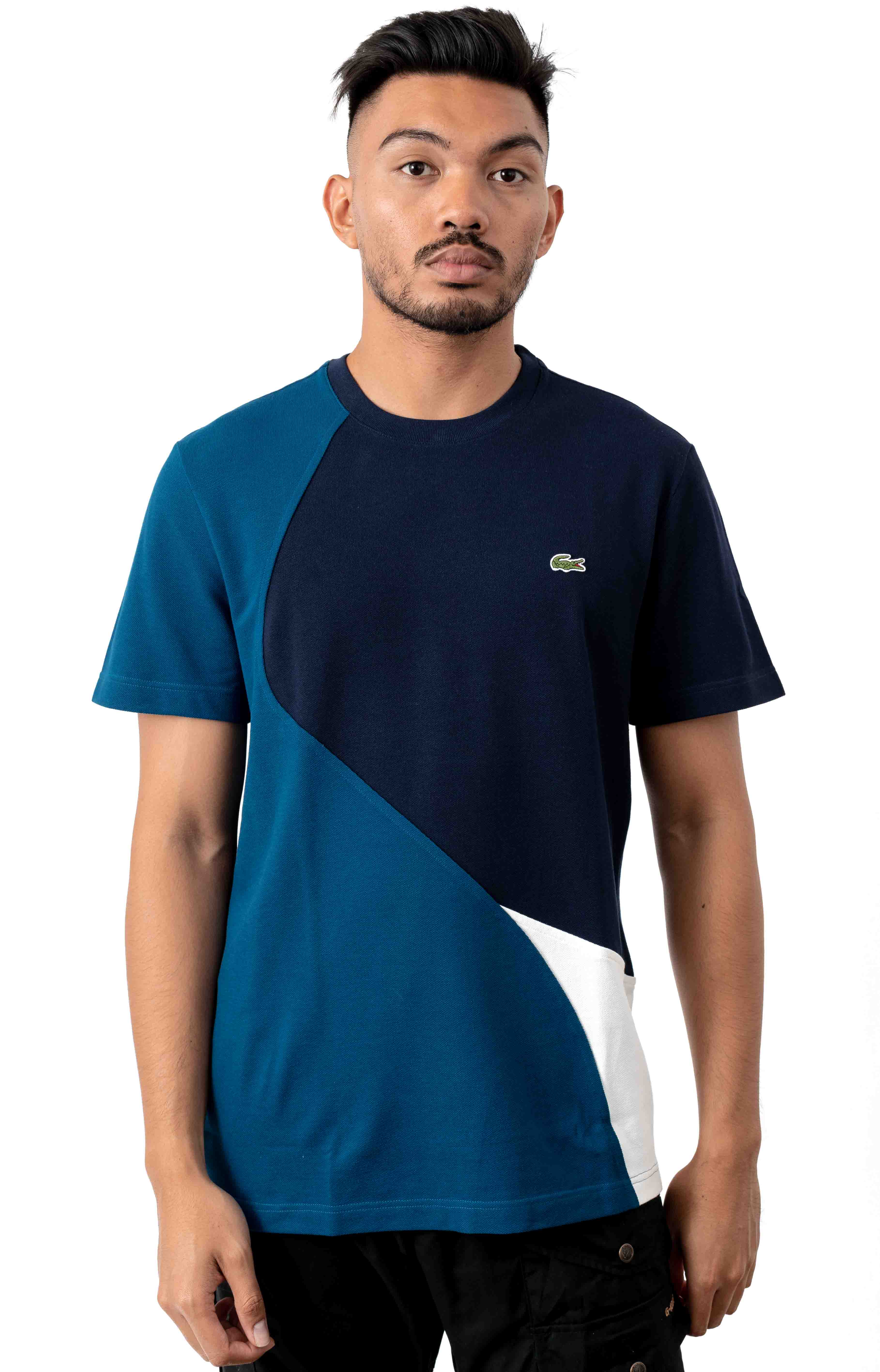 Crewneck Color-Blocked Thermoregulating Piqué T-Shirt - Blue/White/Navy Blue