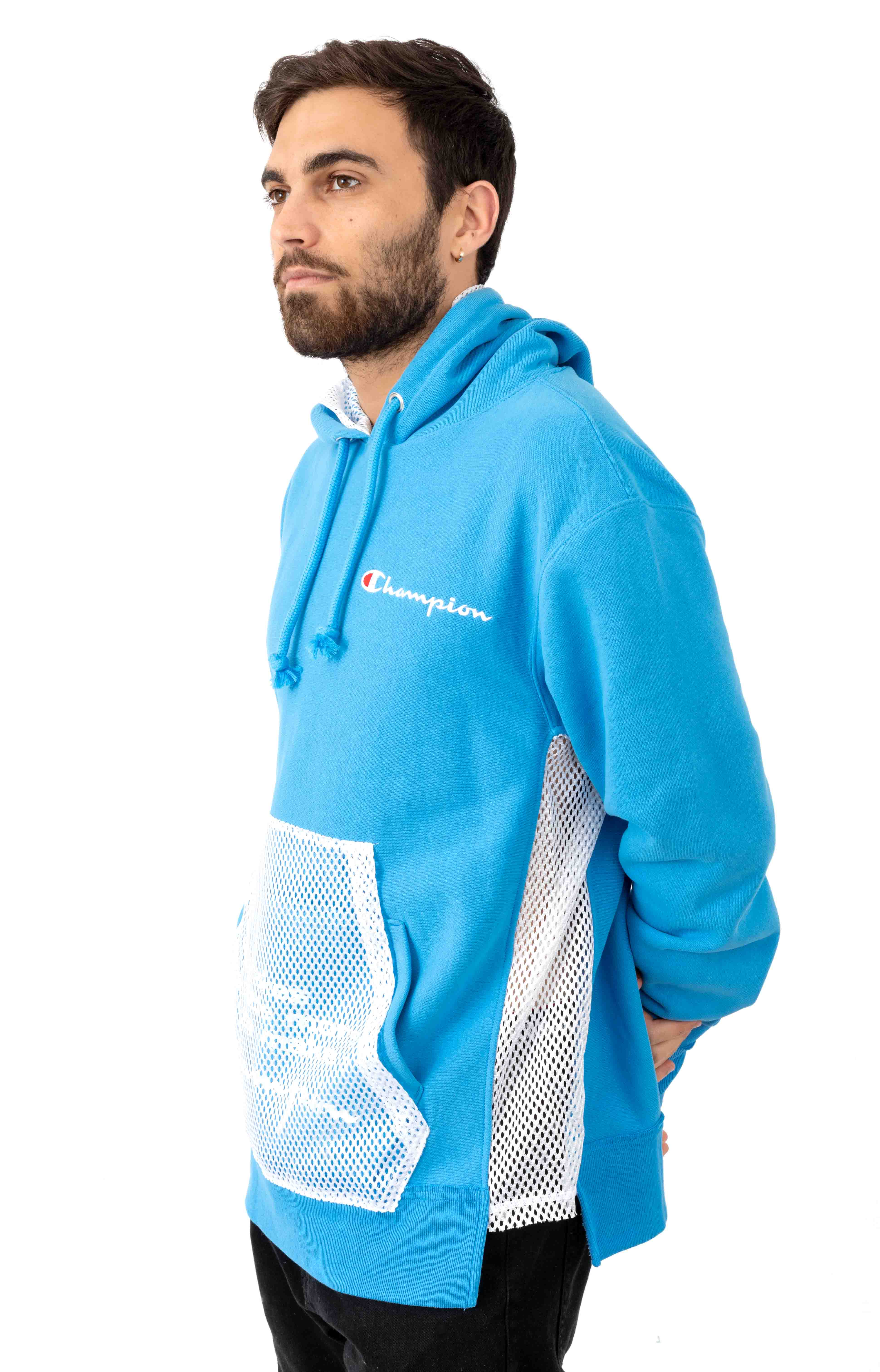 Reverse Weave Shift Pullover Hoodie - Active Blue/White 2