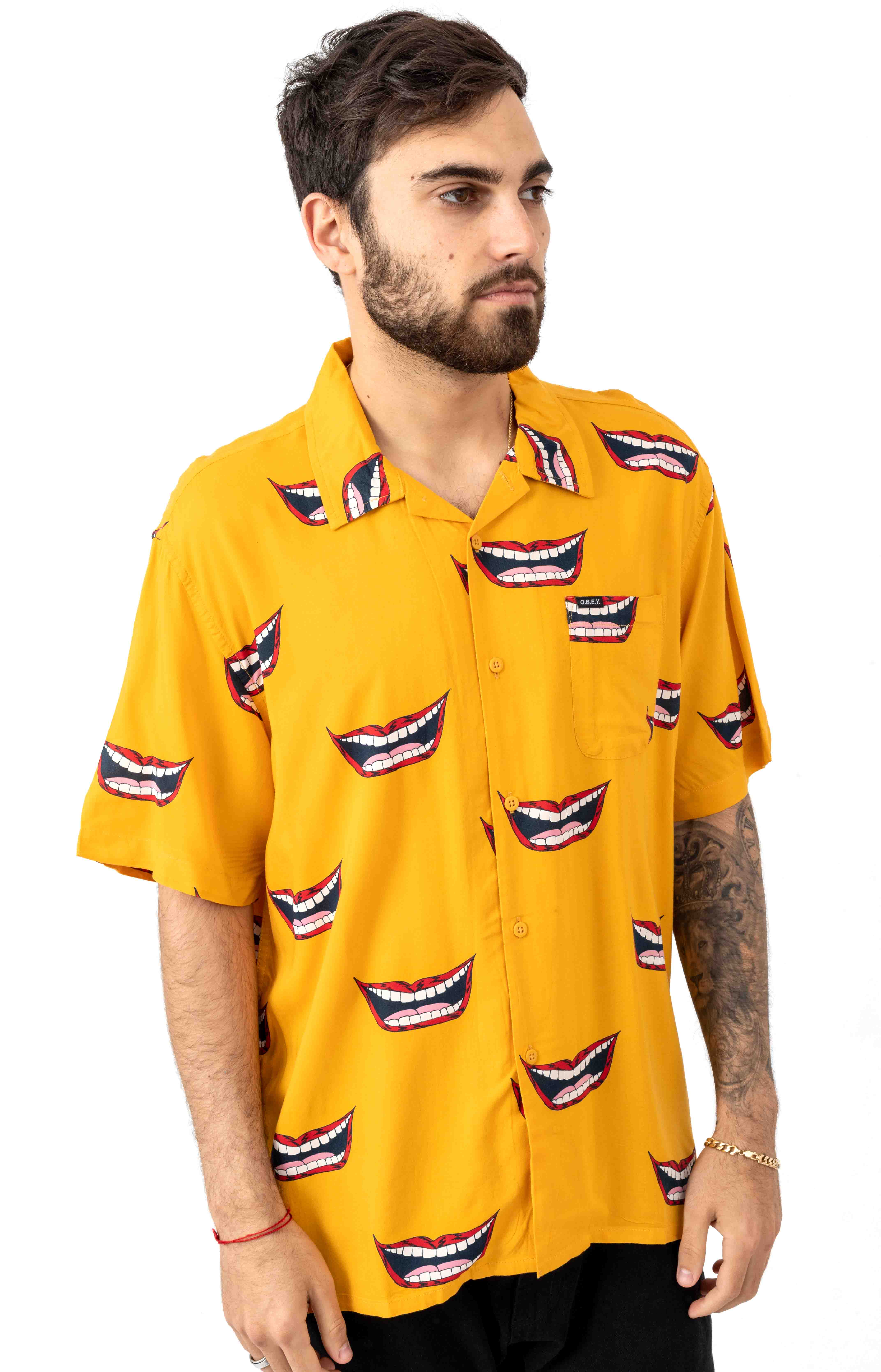 Lips Woven Button-Up Shirt - Mineral Yellow