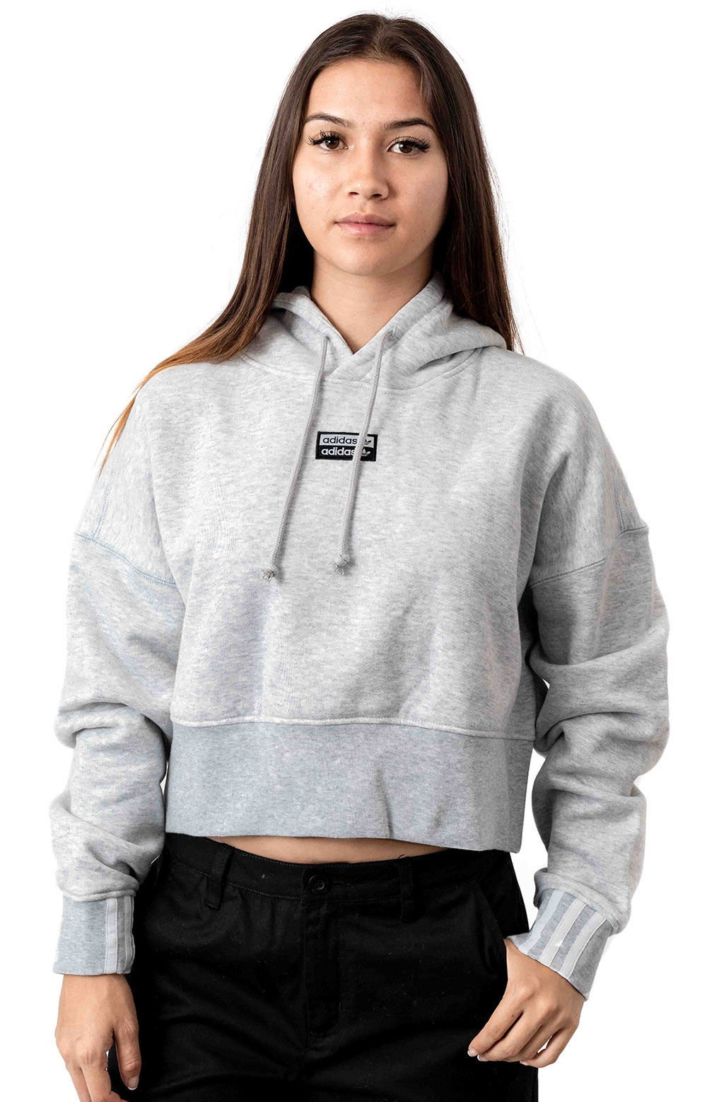 (EJ8538) Vocal Cropped Pullover Hoodie - Light Grey Heather