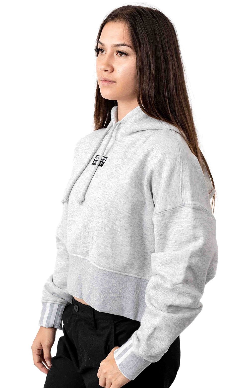 (EJ8538) Vocal Cropped Pullover Hoodie - Light Grey Heather  2