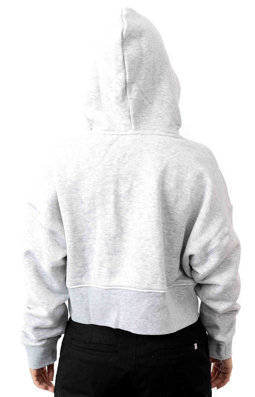 (EJ8538) Vocal Cropped Pullover Hoodie - Light Grey Heather  3