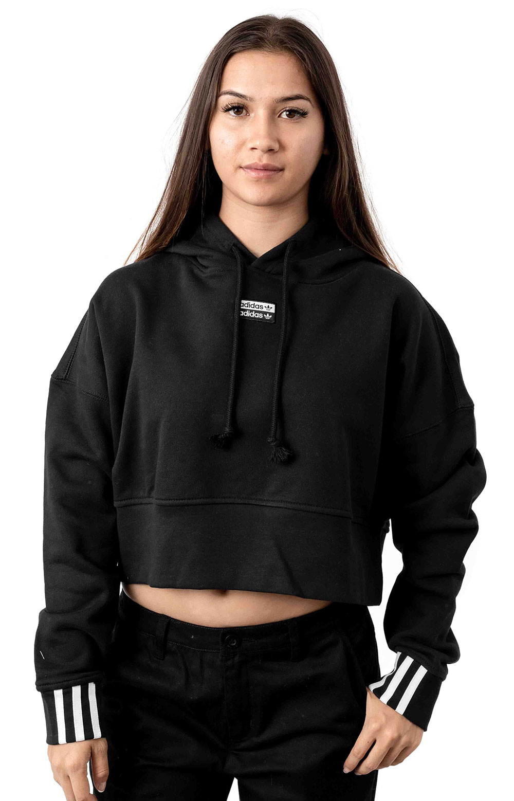 (EJ8537) Vocal Cropped Pullover Hoodie - Black