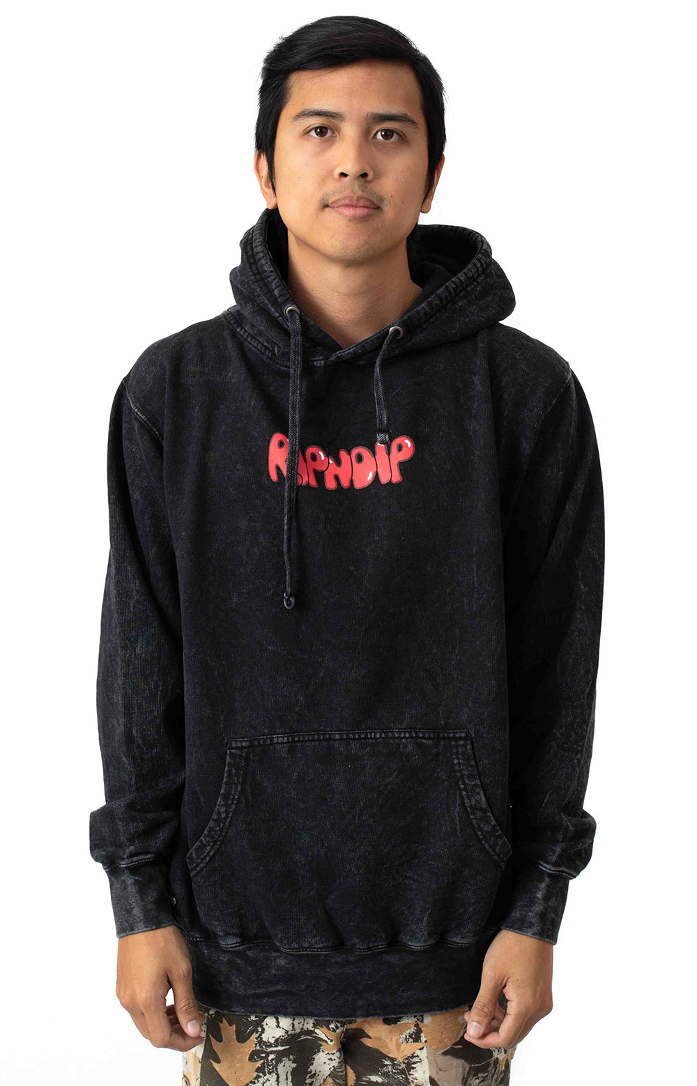 Cherry Blossom Pullover Hoodie - Grey Mineral Wash