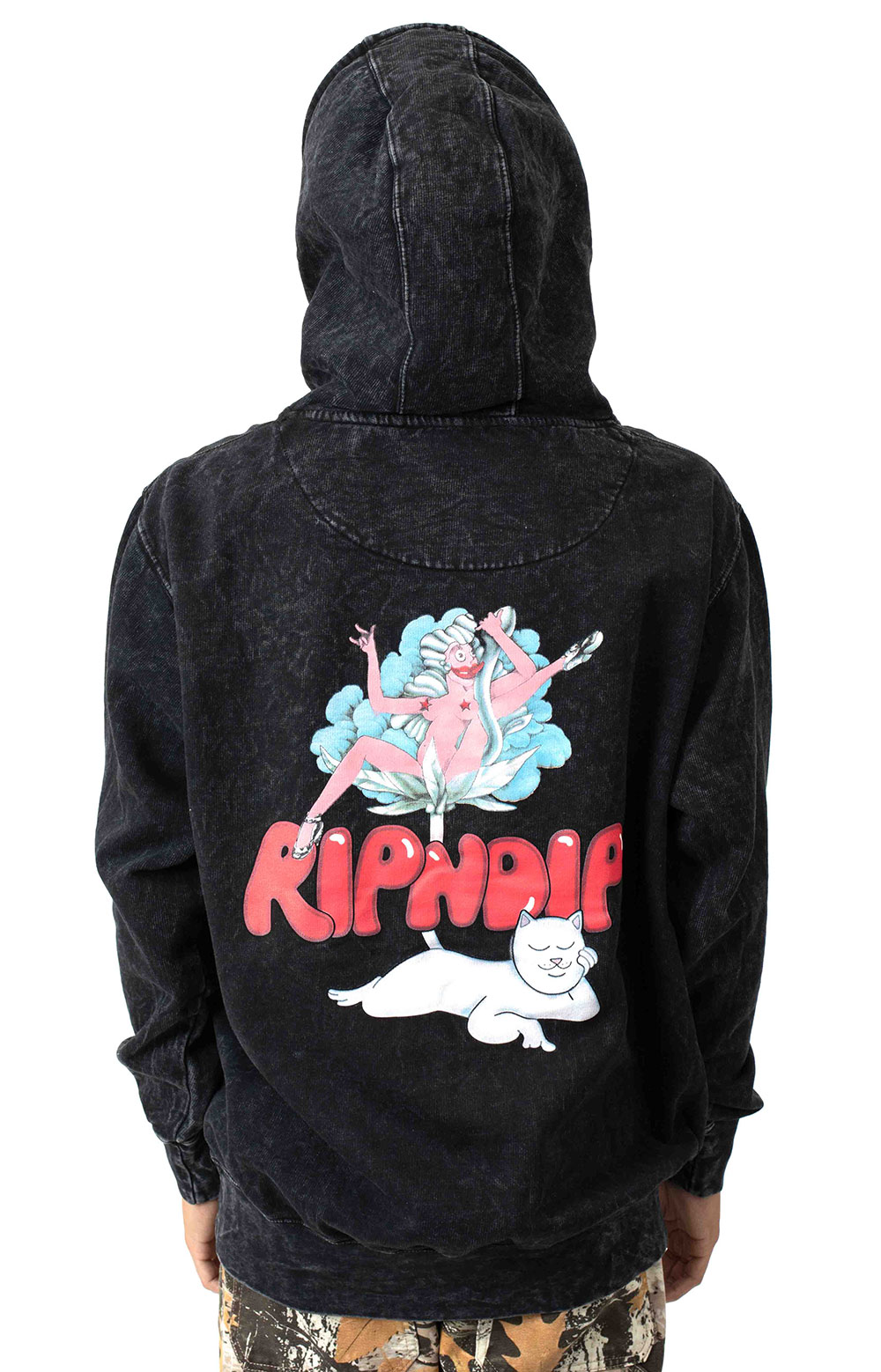Cherry Blossom Pullover Hoodie - Grey Mineral Wash 3