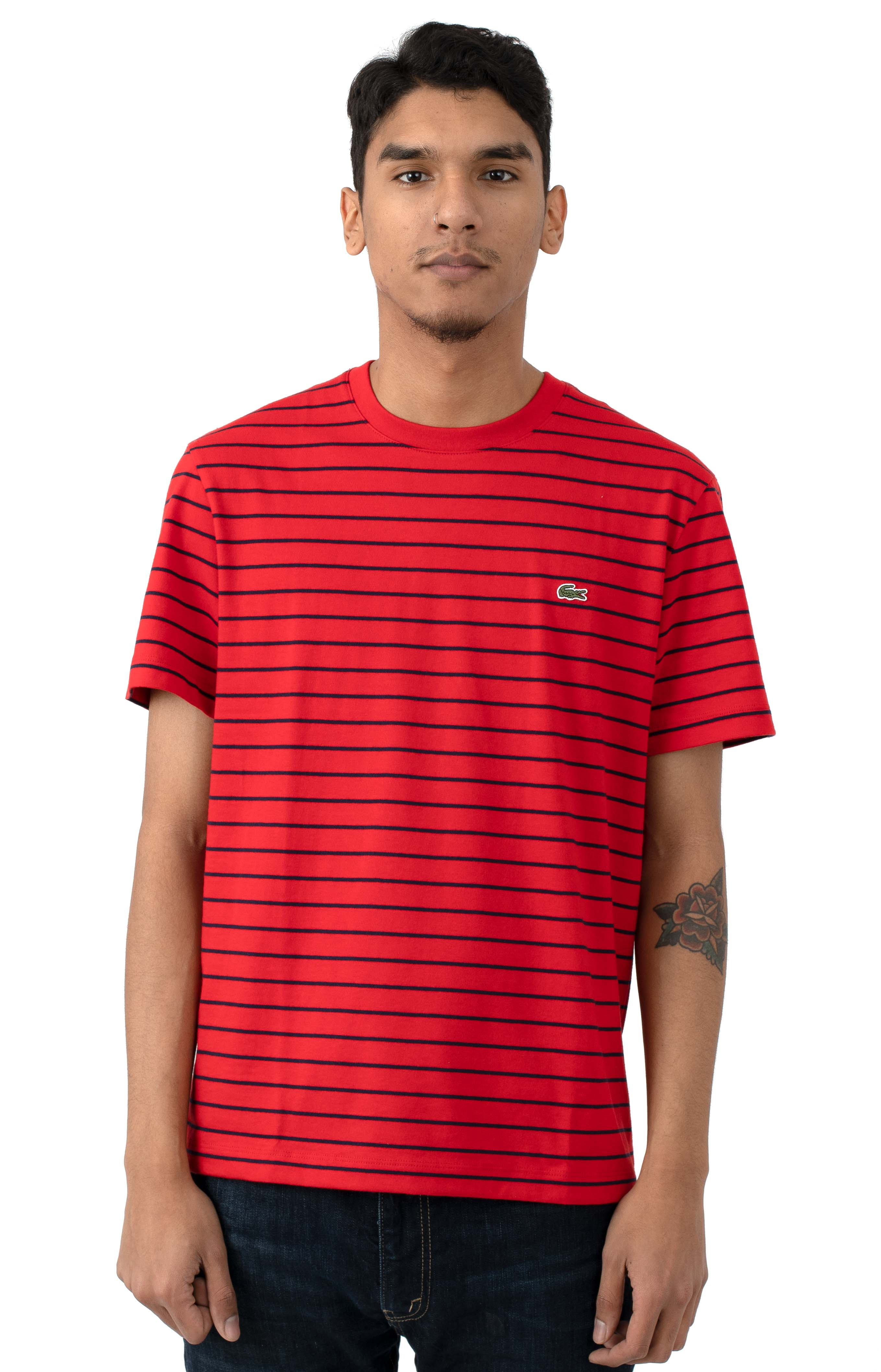 SS Striped Necktape T-Shirt - Red/Navy