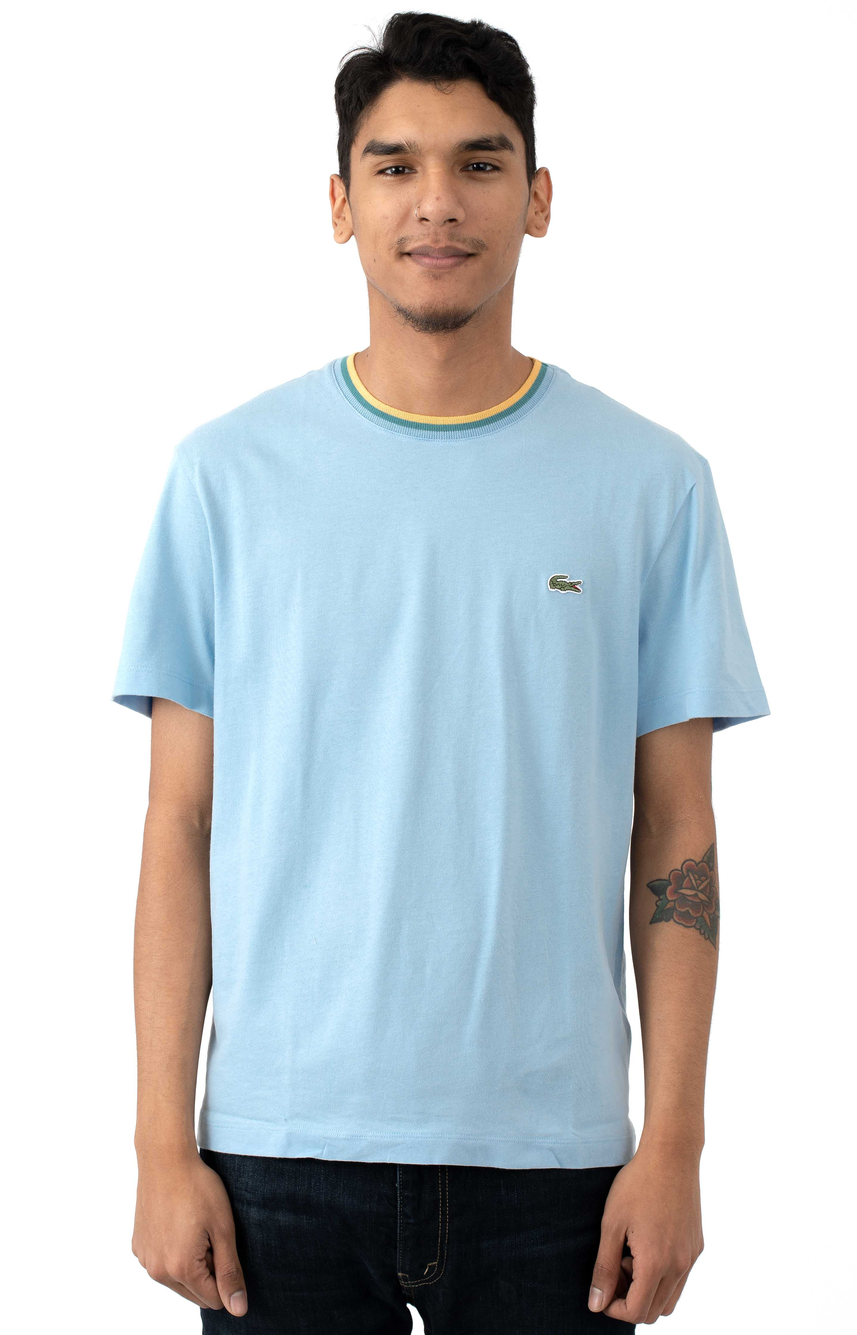 SS Striped Top Jersey T-Shirt - Light Blue