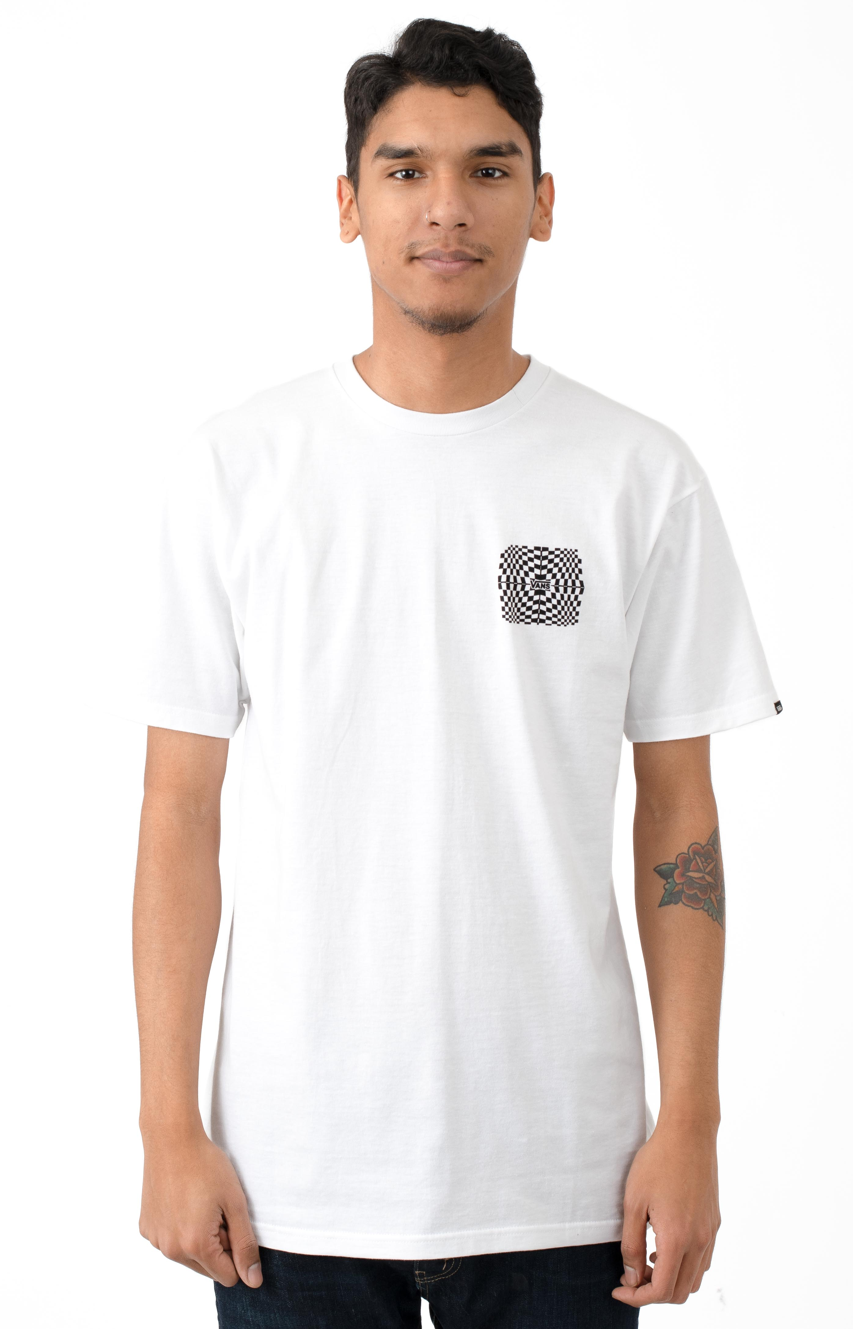 Warped Check T-Shirt - White