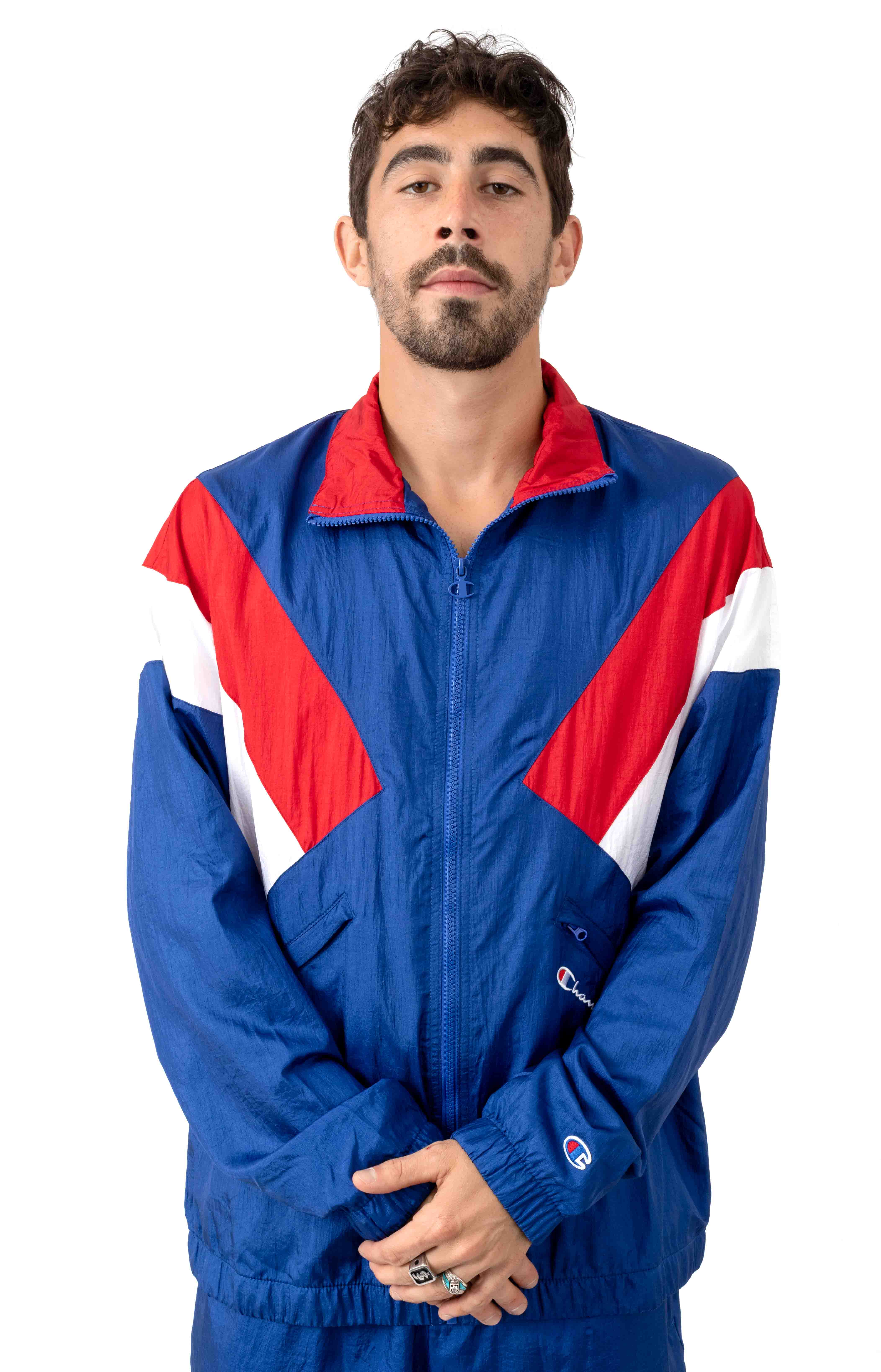 Nylon Warm Up Jacket - Surf The Web/Scarlet/White