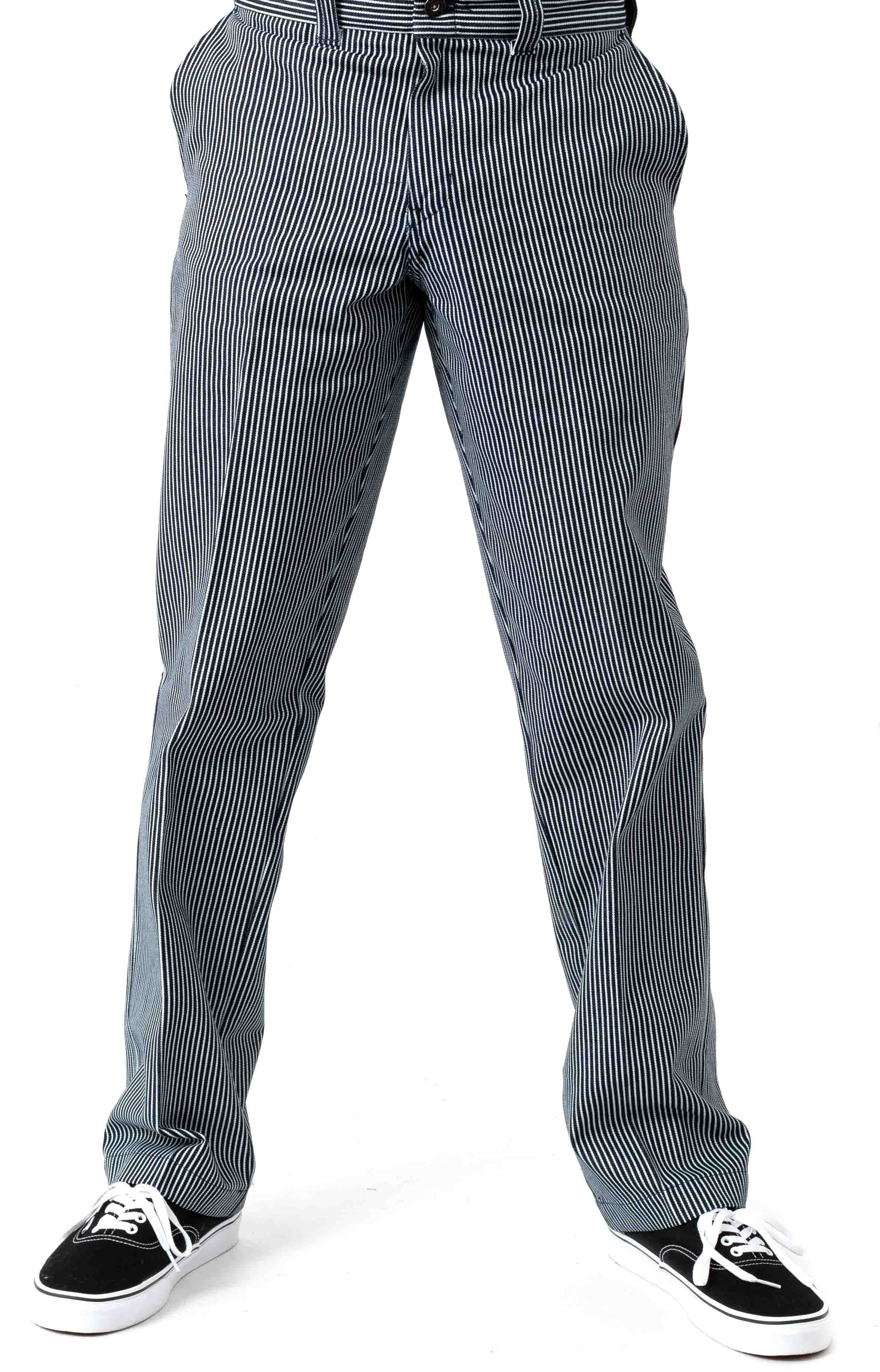 (WP894HHS) '67 Slim Fit Twill Hickory Stripe Pant - Blue White Hickory Stripe  2