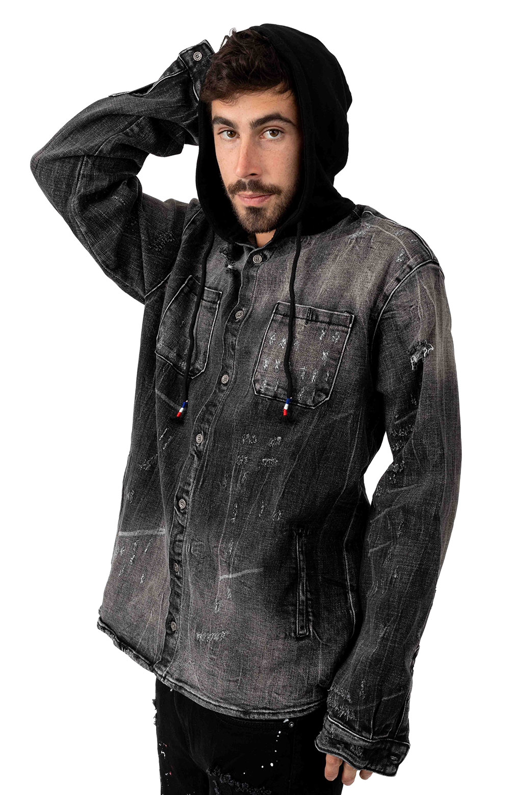 Cryspdenim 77347 Walsh Denim Hooded Shirt - Black