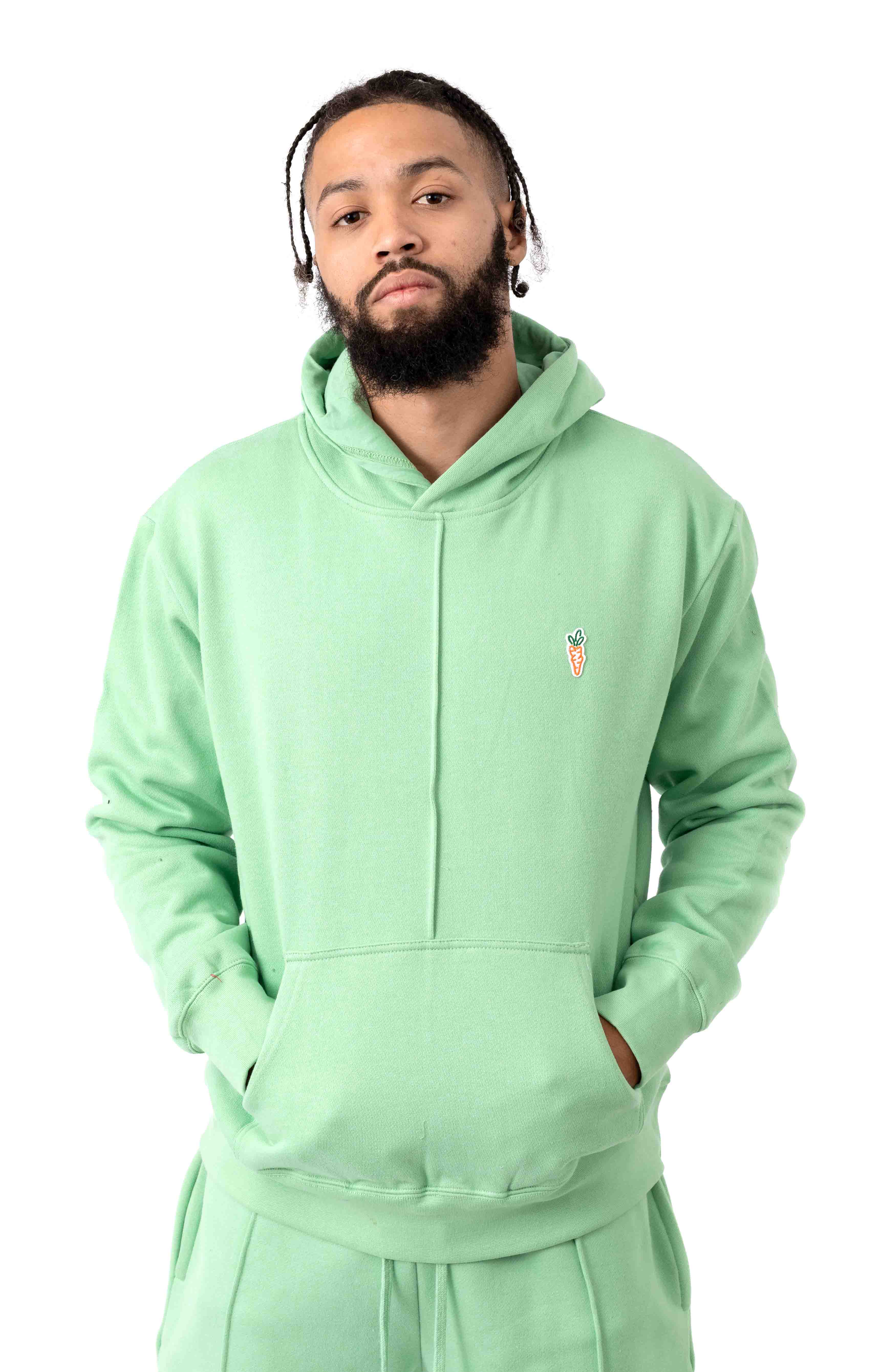 Signature Carrot Patch Pullover Hoodie - Sage Green
