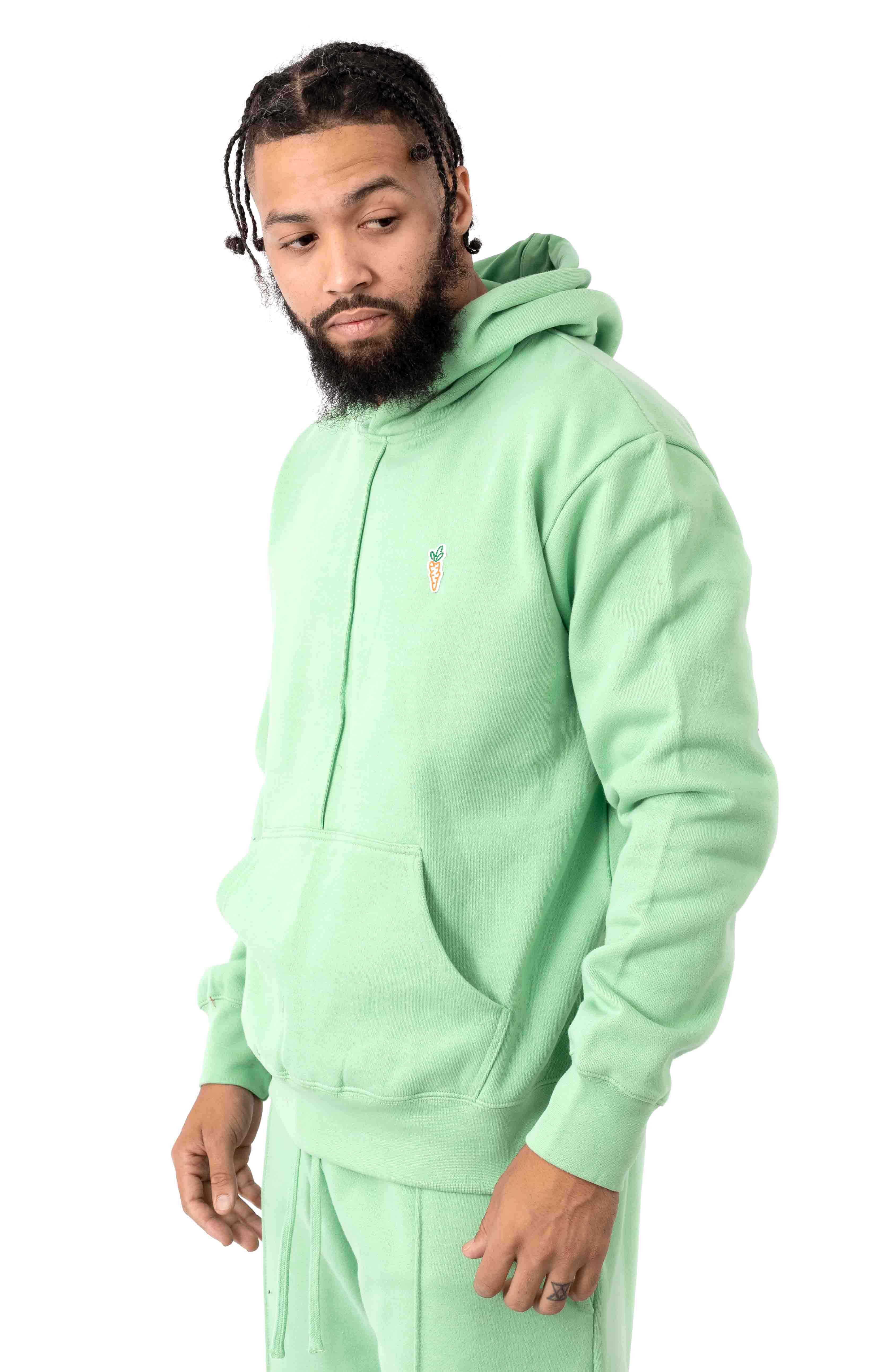 Signature Carrot Patch Pullover Hoodie - Sage Green  2