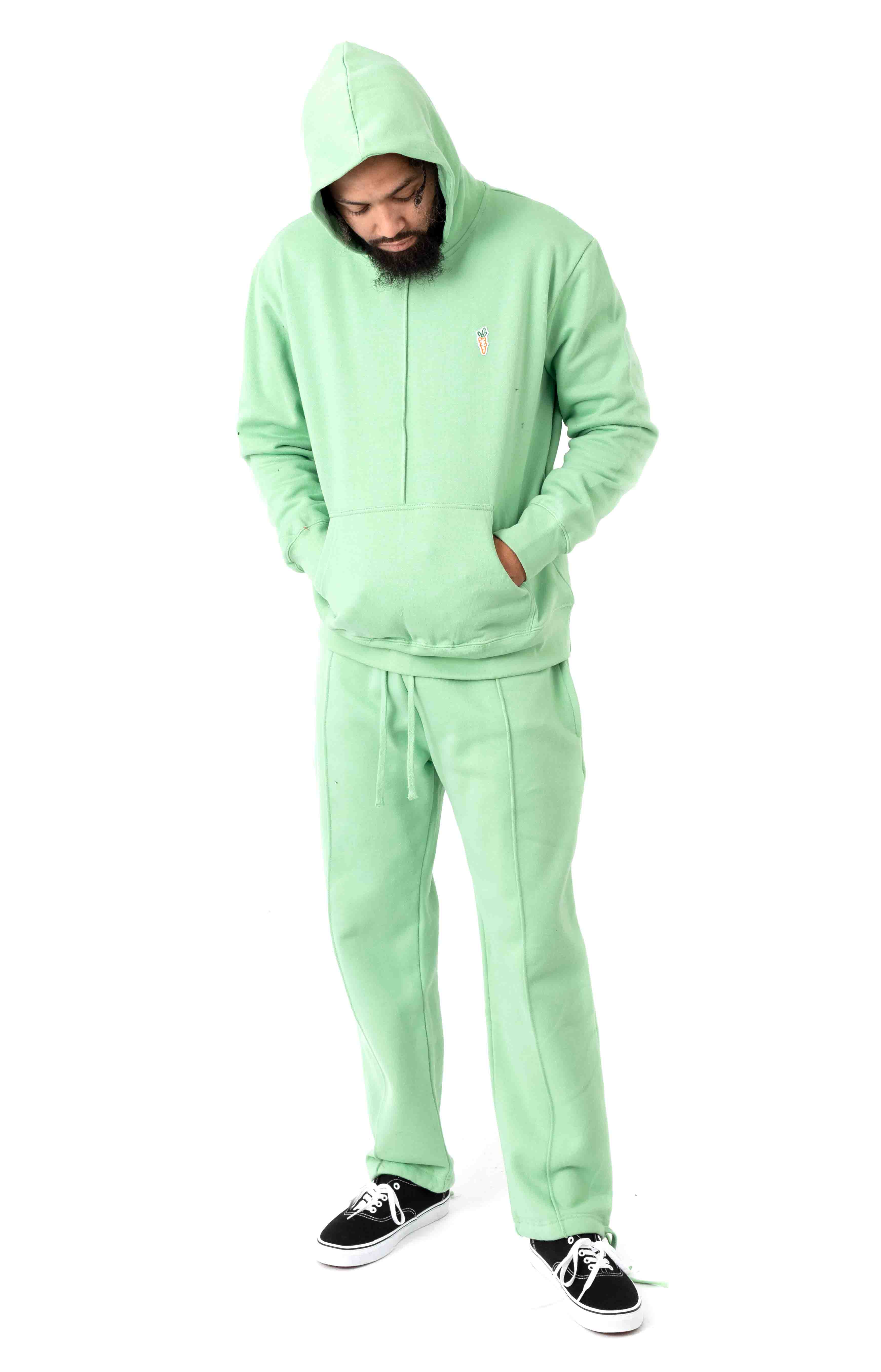 Signature Carrot Patch Pullover Hoodie - Sage Green  4