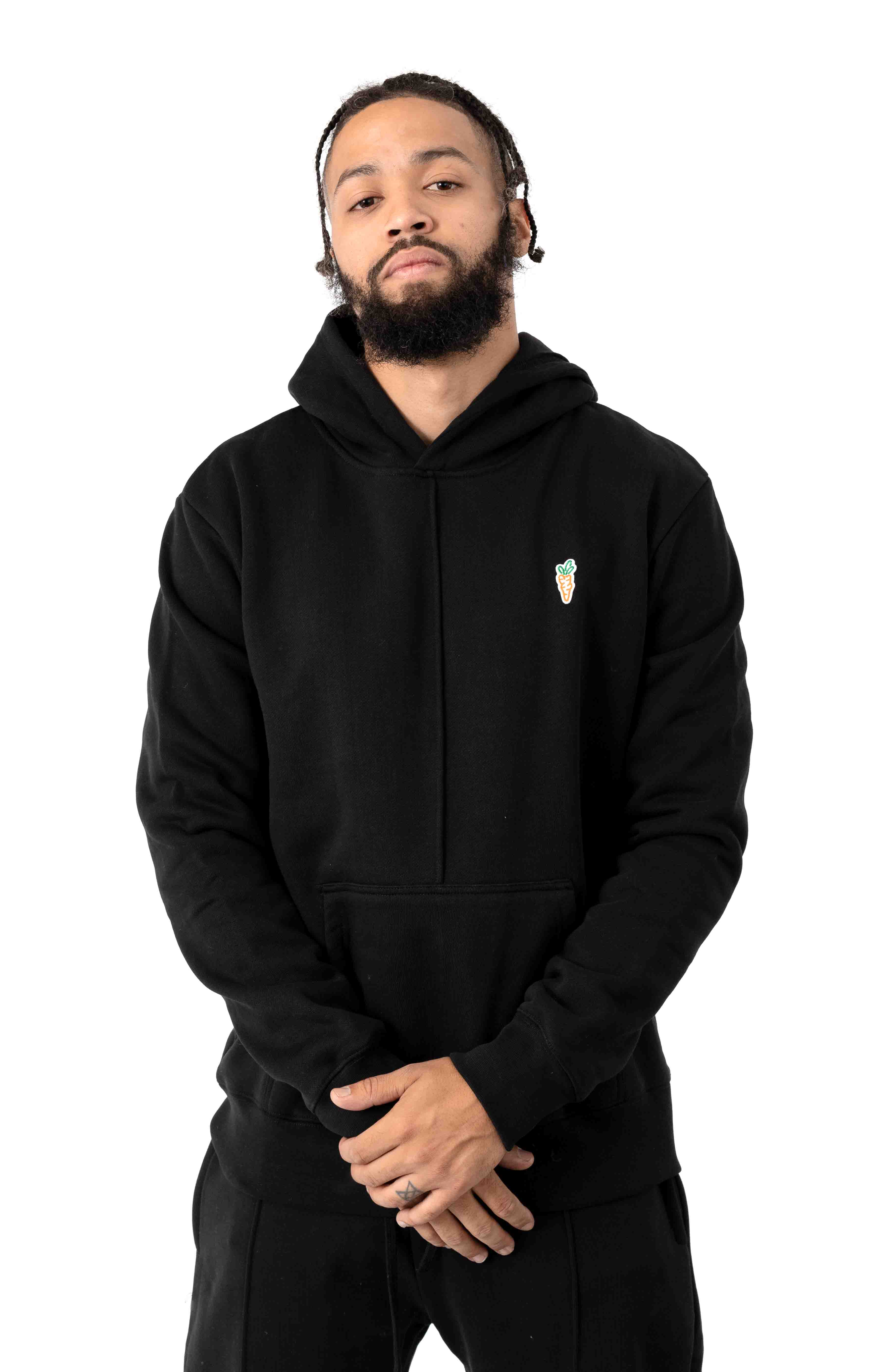 Signature Carrot Patch Pullover Hoodie - Black