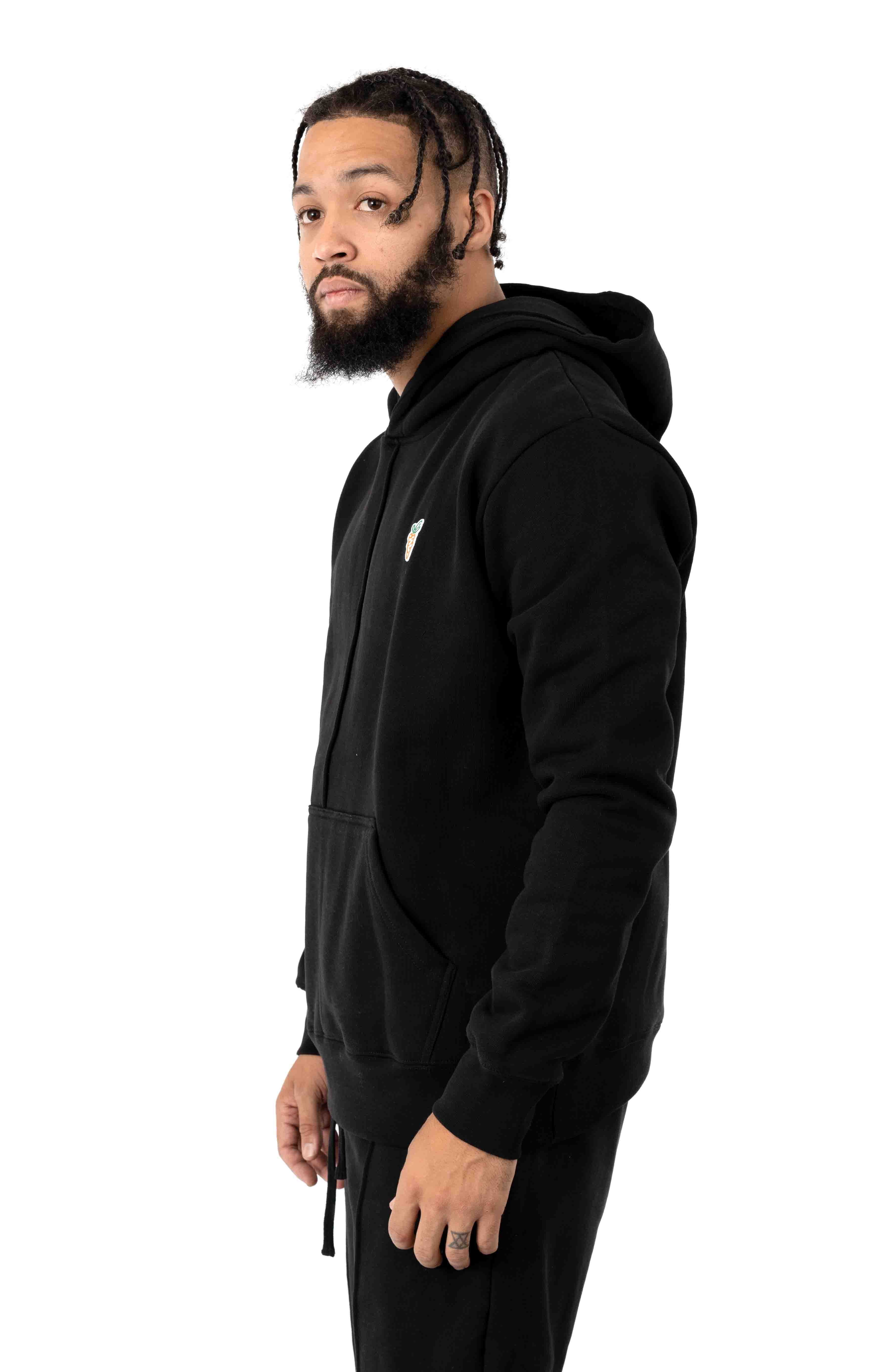 Signature Carrot Patch Pullover Hoodie - Black 2