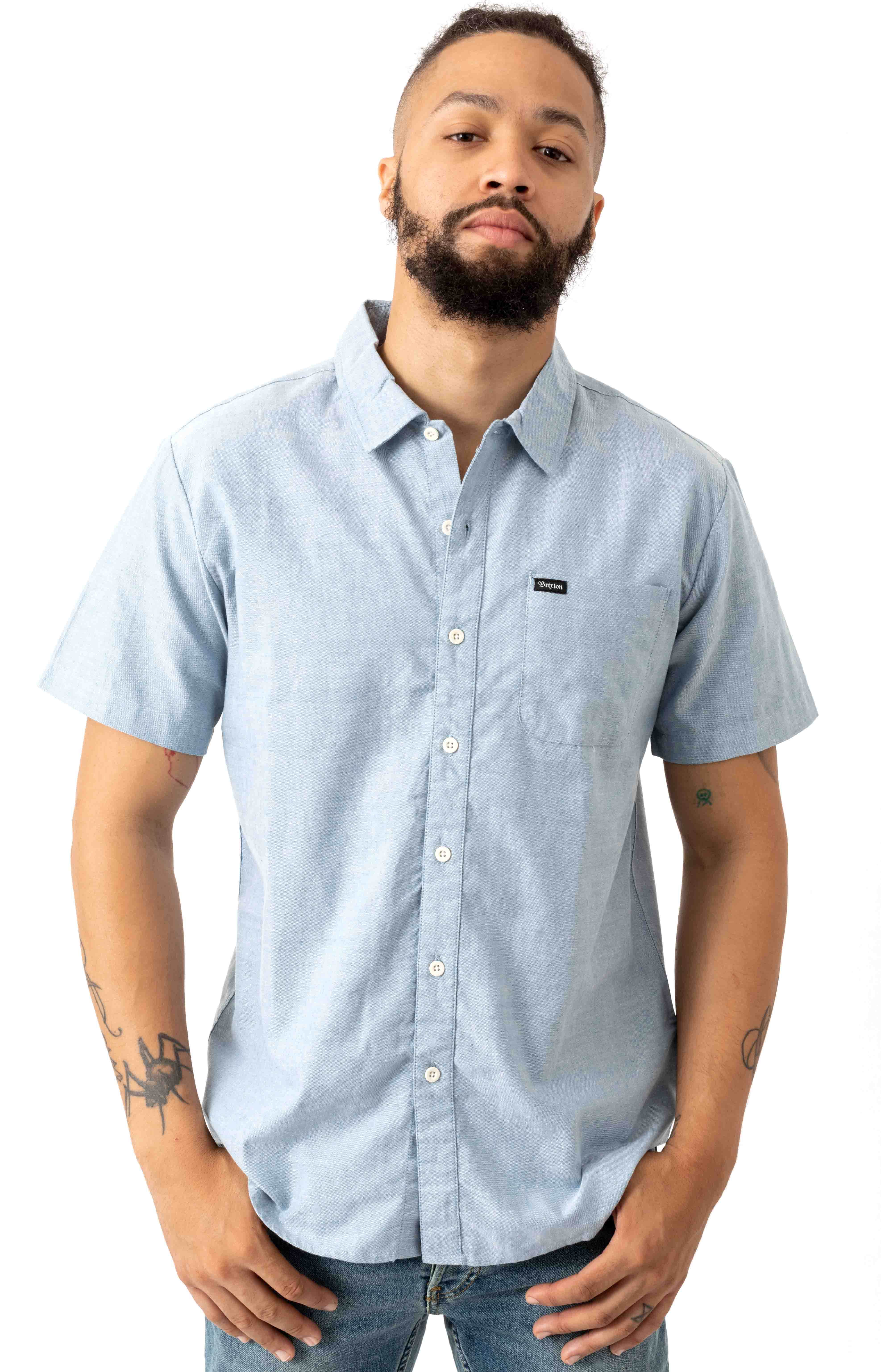 Charter Oxford S/S Button-Up Shirt - Light Blue Chambray
