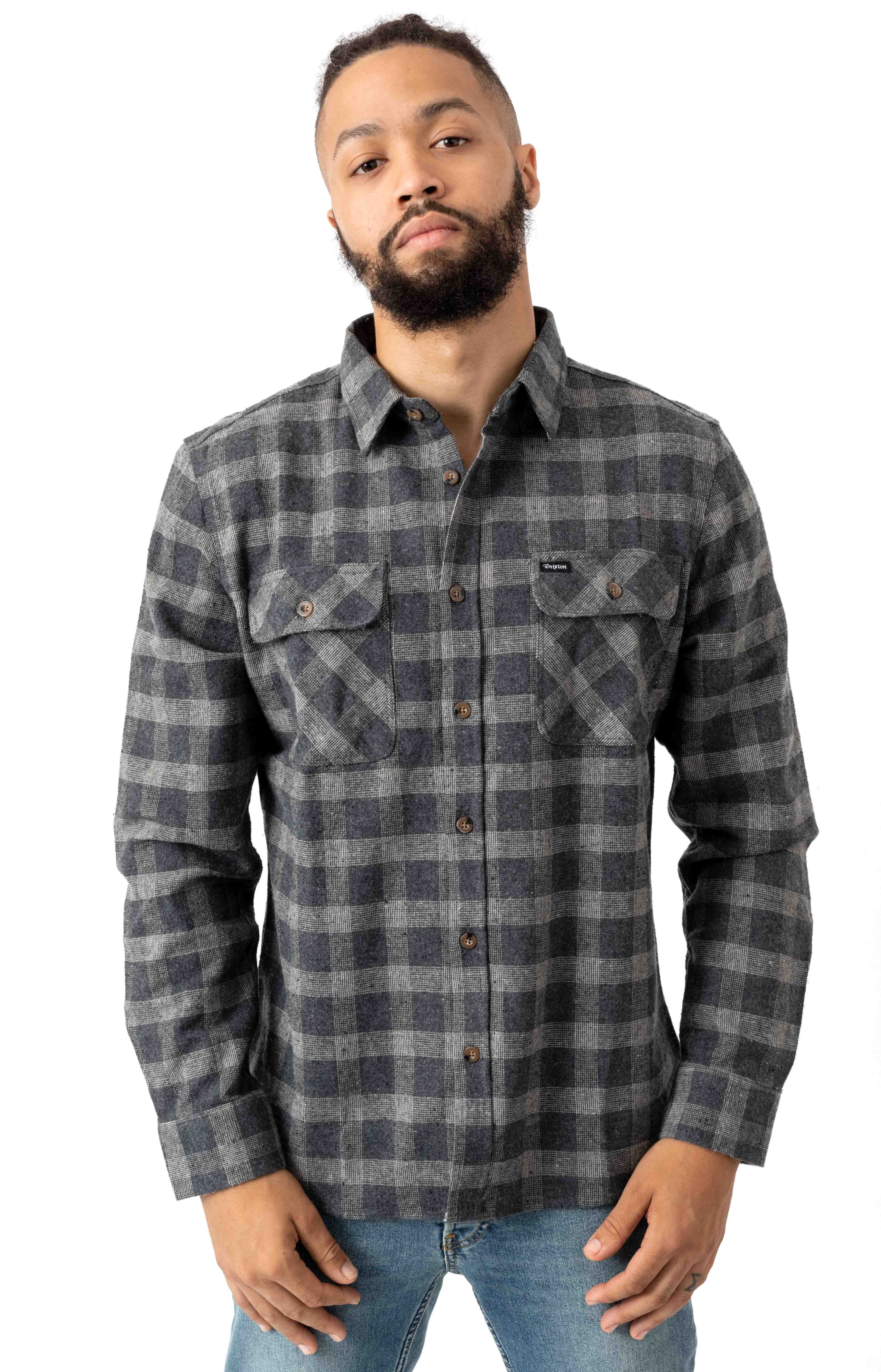 Bowery L/S Flannel - Black/Heather Grey